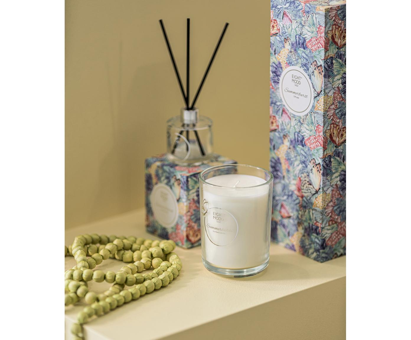 Diffuser & Duftkerze Summerburst (Apfel, Cassis & Orange), 2er-Set, Box: Papier, Behälter: Glas, Mehrfarbig, 10 x 22 cm