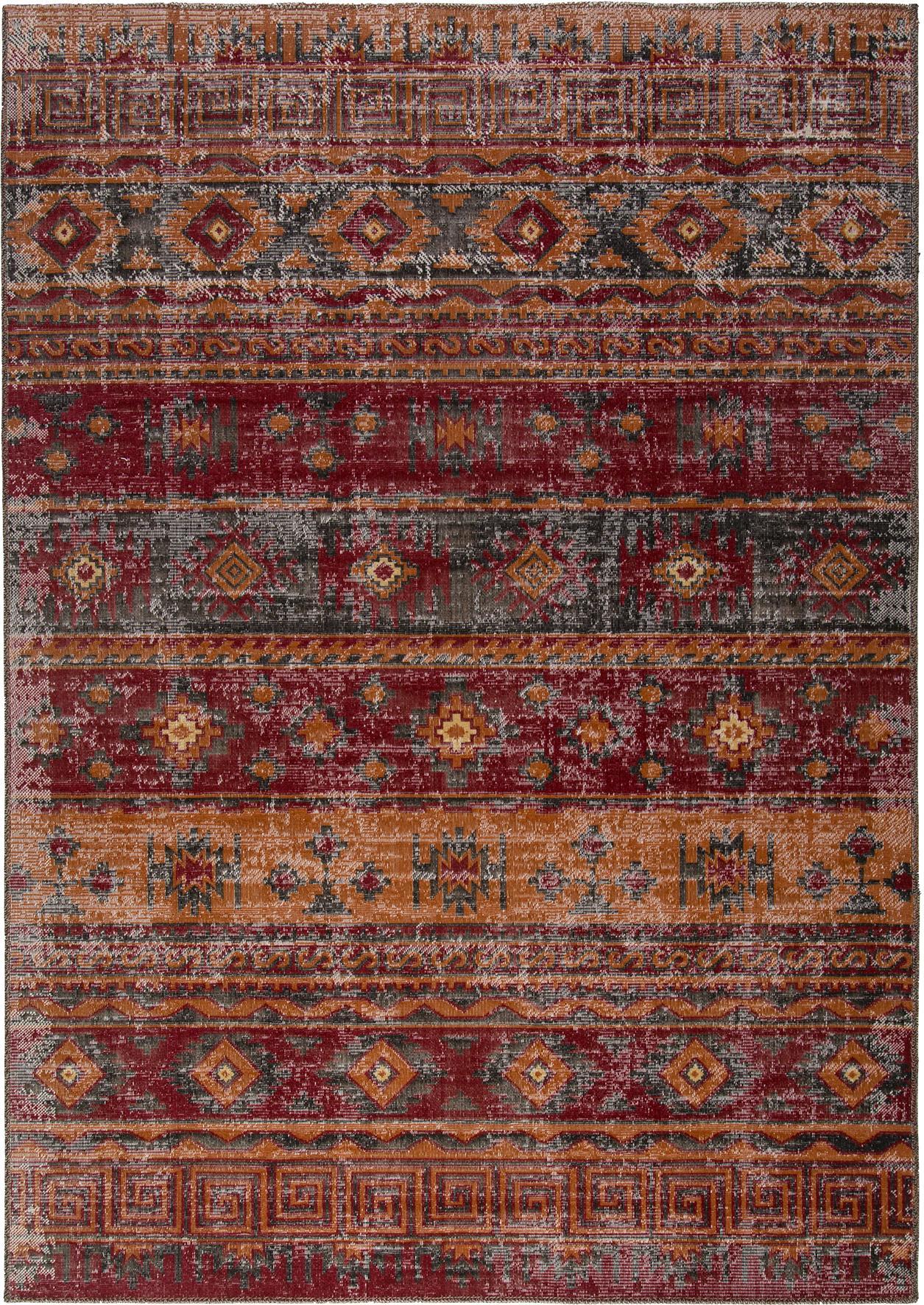 Alfombra de interior/exterior Tilas Istanbul, estilo oriental, Rojo oscuro, mostaza, caqui, An 160 x L 230 cm (Tamaño M)