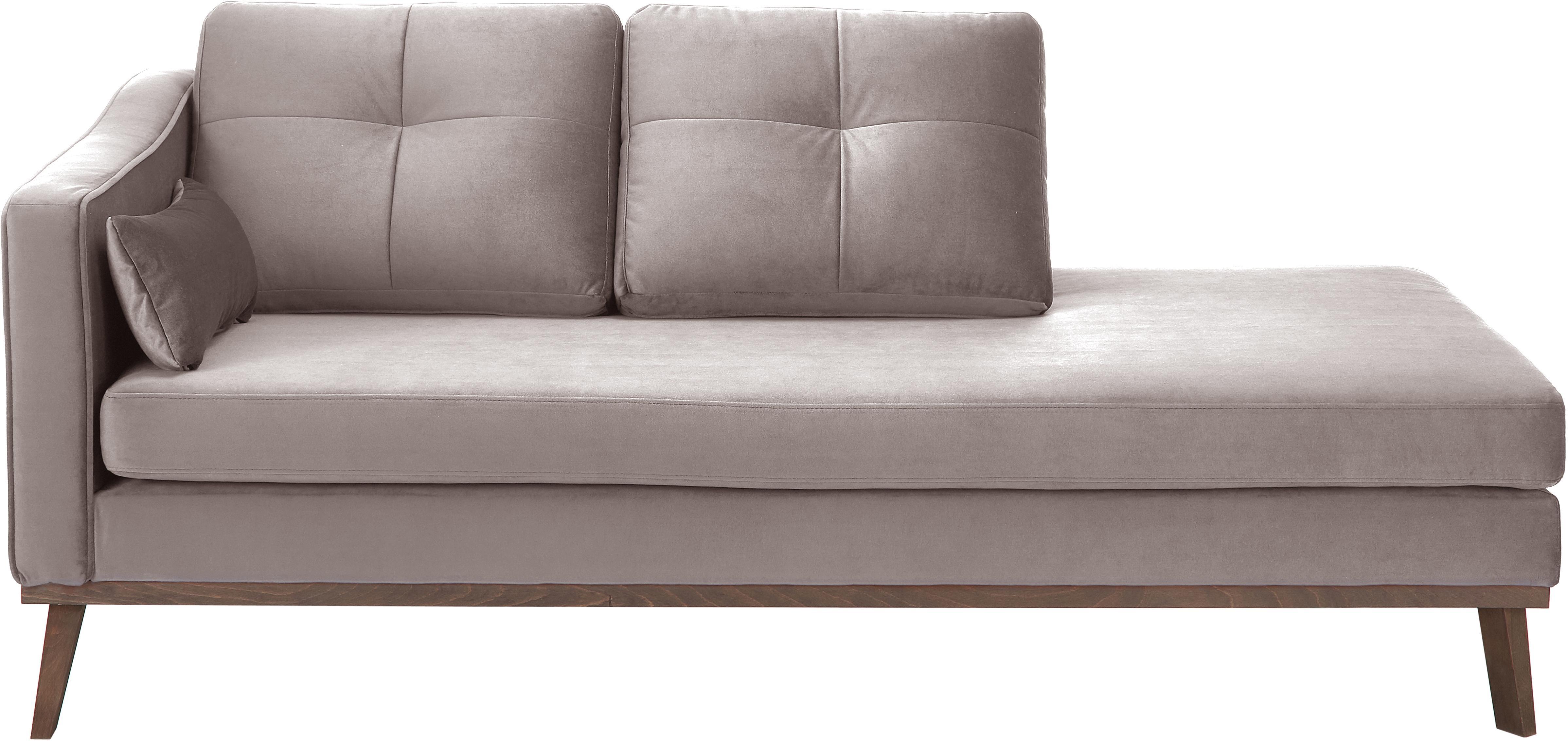 Fluwelen chaise longue Alva, Bekleding: fluweel (hoogwaardig poly, Frame: massief grenenhout, Poten: massief gebeitst beukenho, Taupe, B 193 x D 94 cm