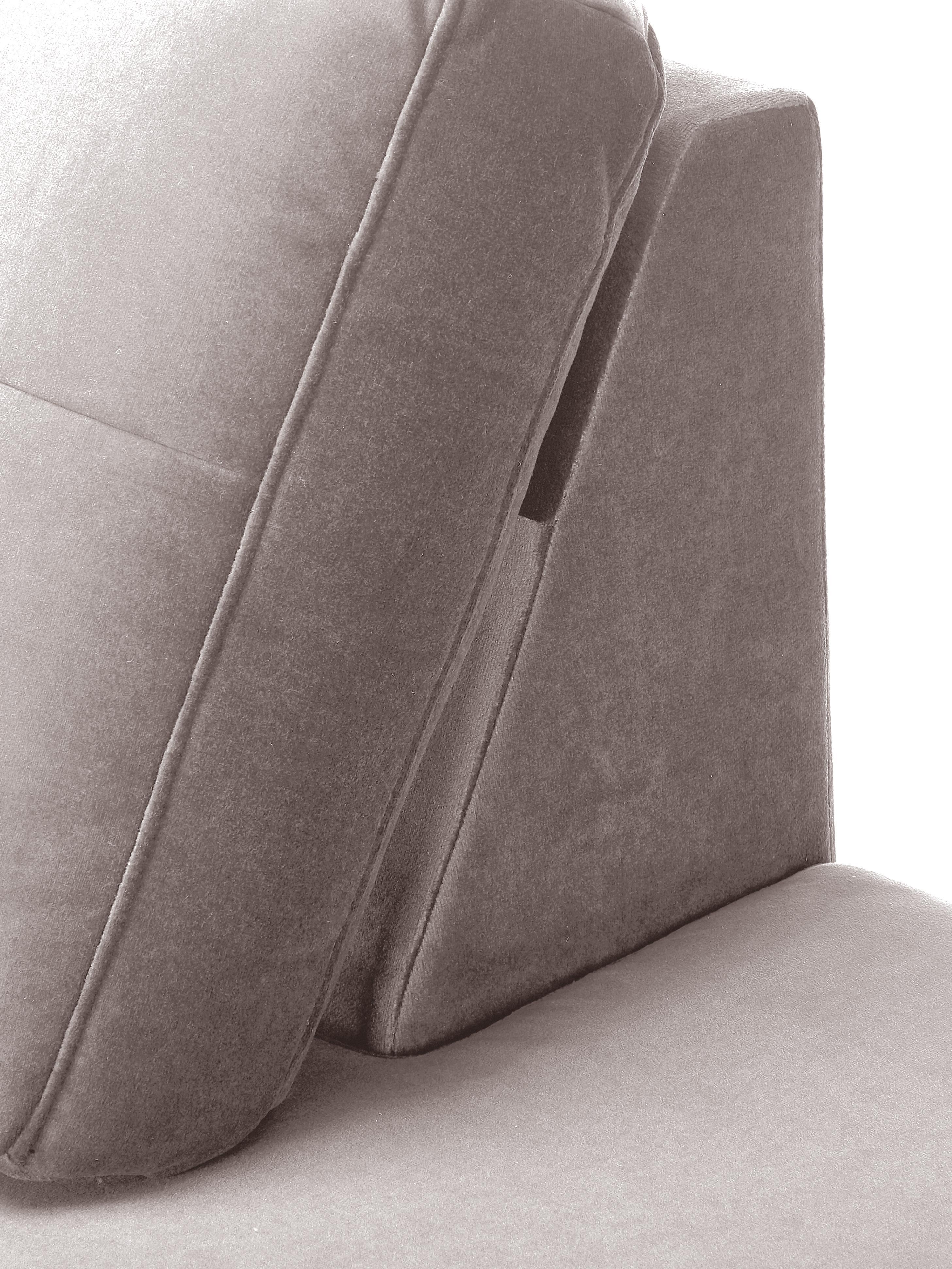 Samt-Ottomane Alva, Bezug: Samt (Hochwertiger Polyes, Gestell: Massives Kiefernholz, Füße: Massives Buchenholz, gebe, Samt Taupe, B 193 x T 94 cm