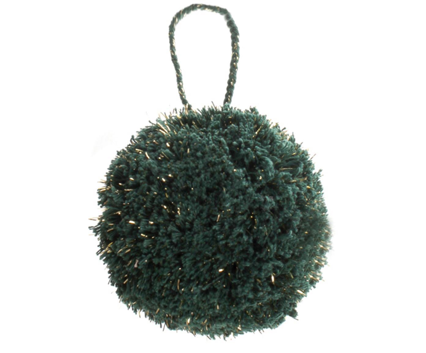 Kerstboomhangers Pompon, 2 stuks, Katoen met Lurex-draden, Petrol, goudkleurig, Ø 8 x H 14 cm
