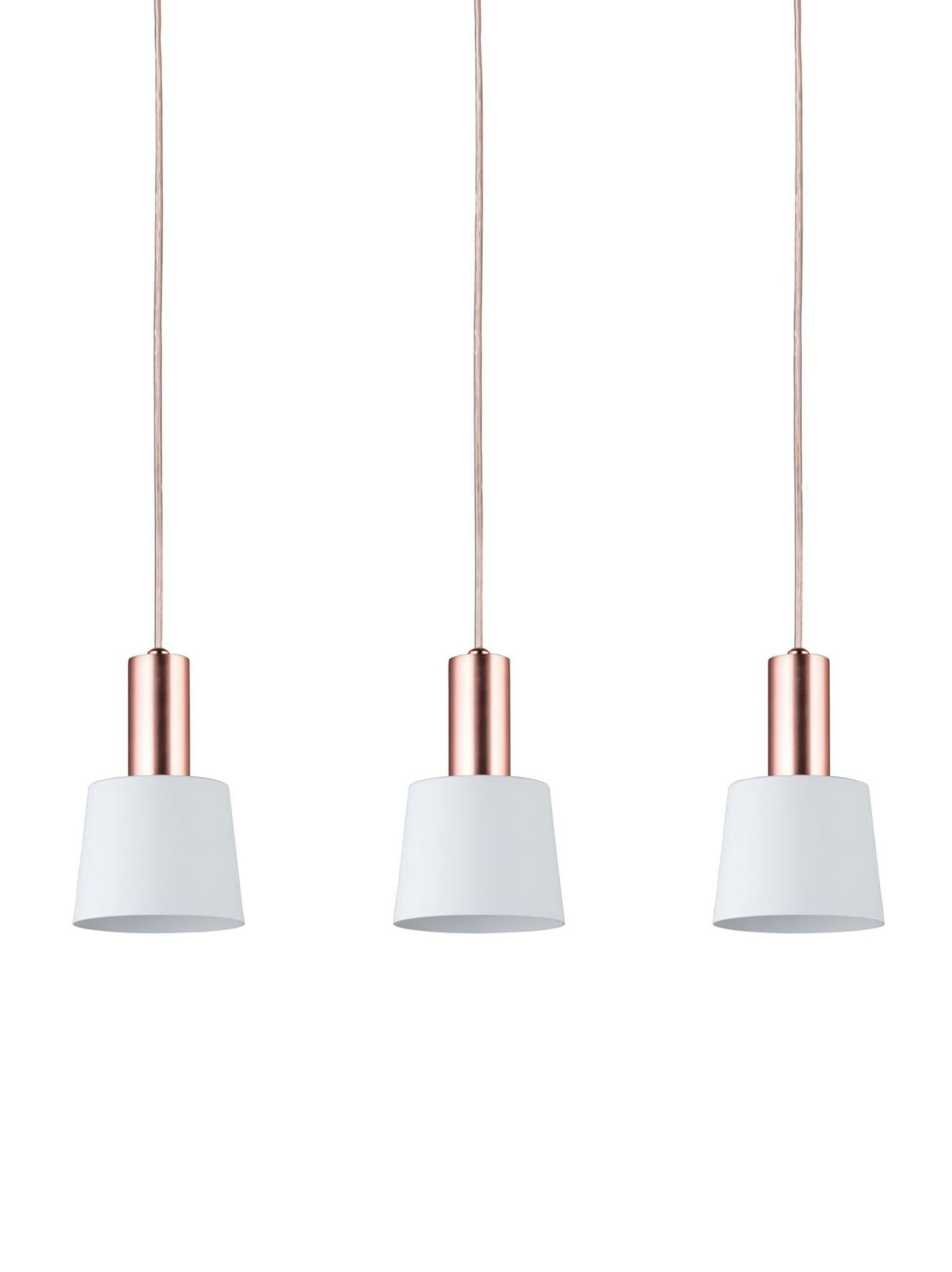 Pendelleuchte Haldar, Weiß, Kupferfarben, 55 x 19 cm