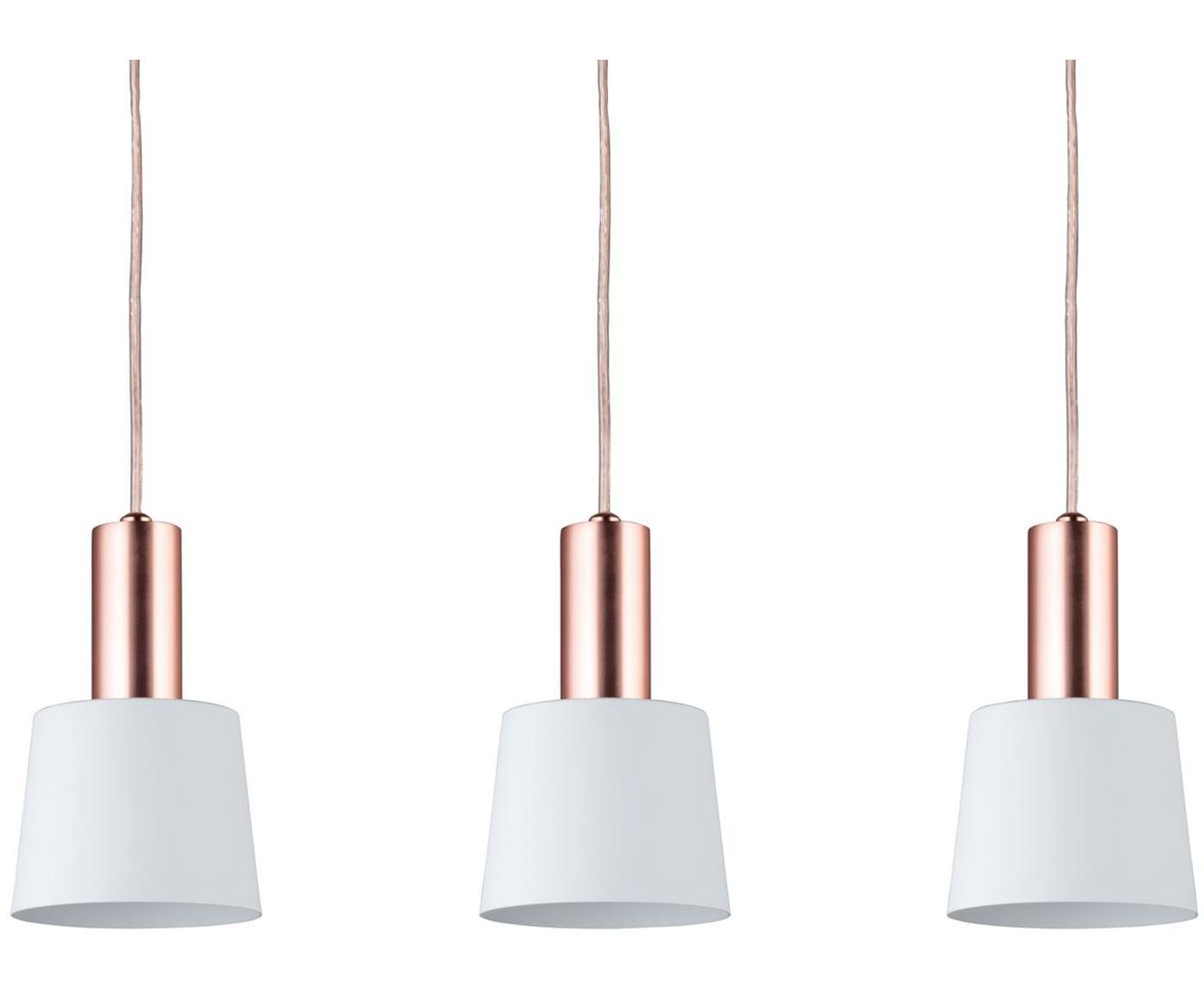 Hanglamp Haldar, Wit, koperkleurig, 55 x 19 cm