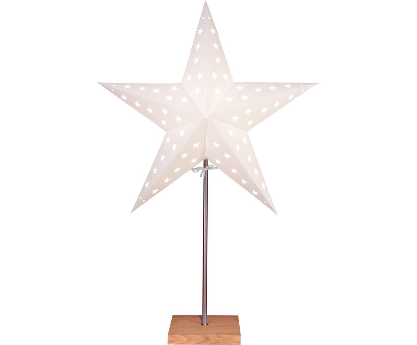 Oggetto luminoso con spina Star, Paralume: carta, Base della lampada: legno di quercia, Asta: metallo rivestito, Bianco, legno di quercia, Larg. 43 x Alt. 65 cm