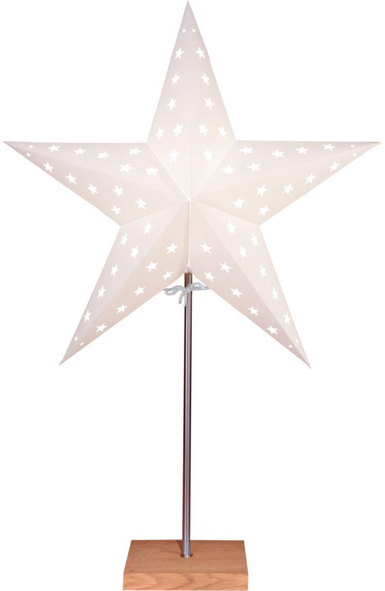 Leuchtobjekt Star, mit Stecker, Lampenschirm: Papier, Lampenfuß: Eichenholz, Stange: Metall, beschichtet, Weiß, Eichenholz, 43 x 65 cm