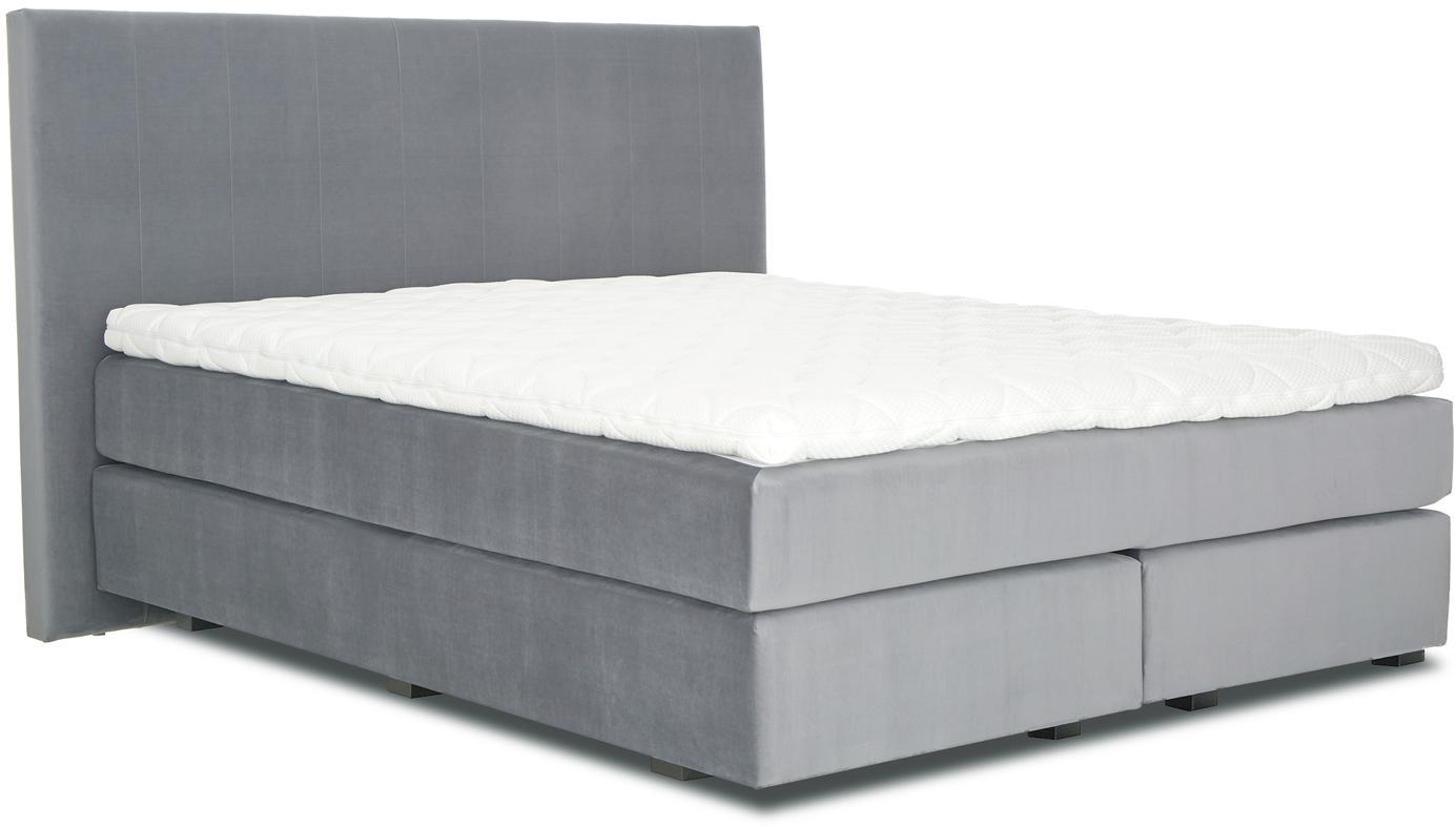 Premium Samt-Boxspringbett Lacey, Matratze: 7-Zonen-Taschenfederkern , Füße: Massives Buchenholz, lack, Dunkelgrau, 180 x 200 cm
