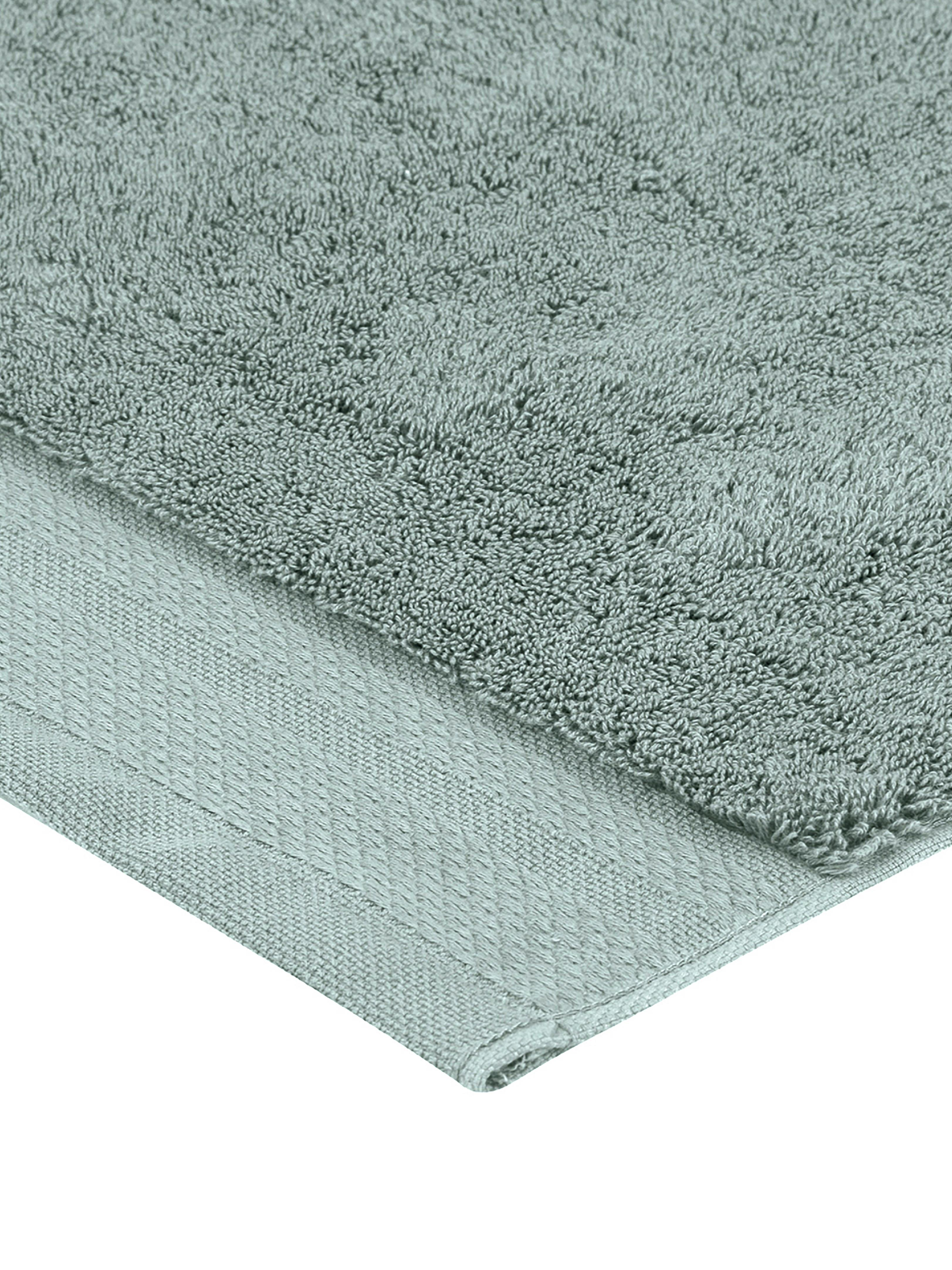 Badematte Premium, rutschfest, 100% Baumwolle, schwere Qualität 600 g/m², Salbeigrün, 50 x 70 cm