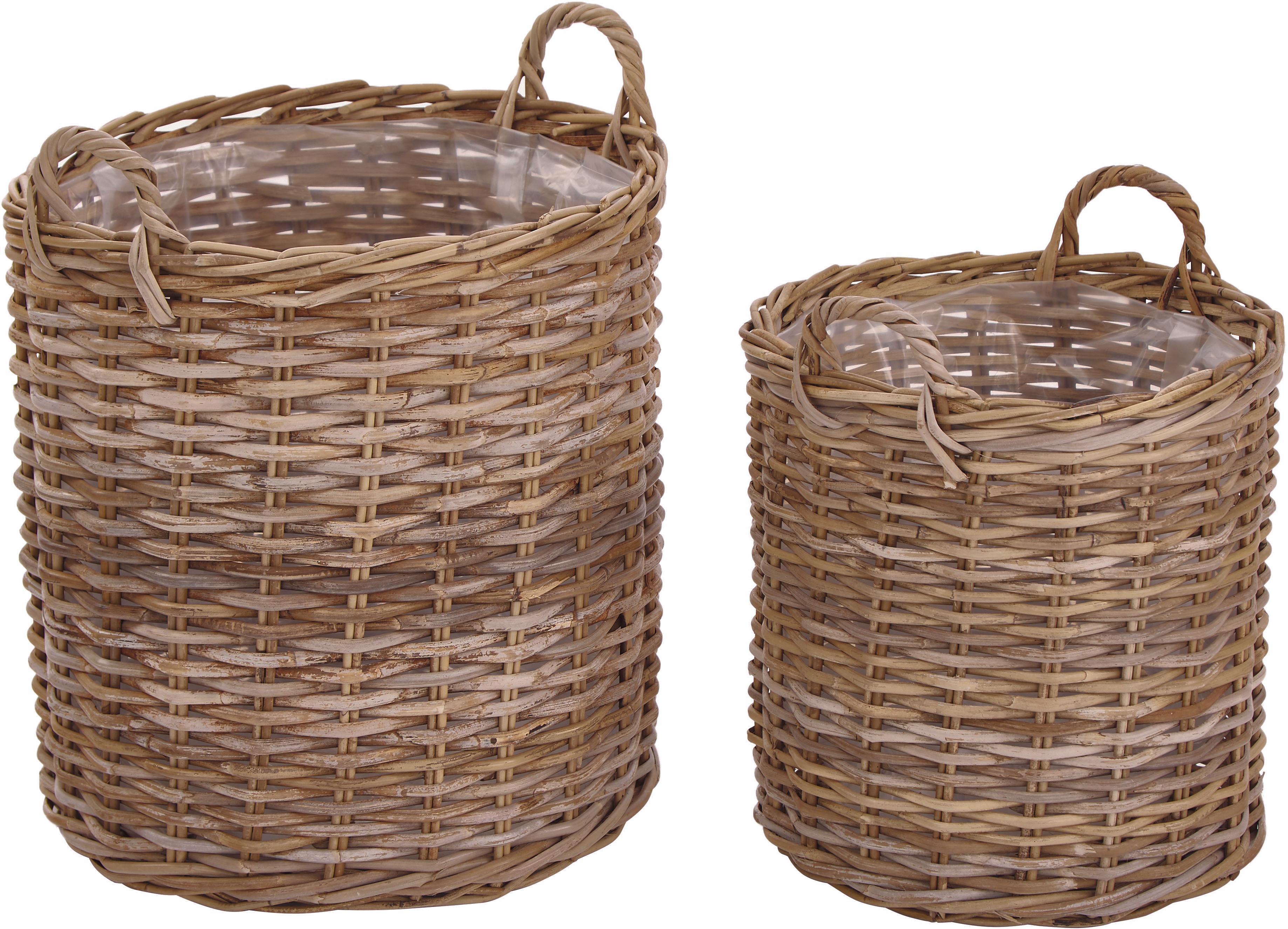 Set de cestas para plantas Indo, 2pzas., Marrón, Tamaños diferentes
