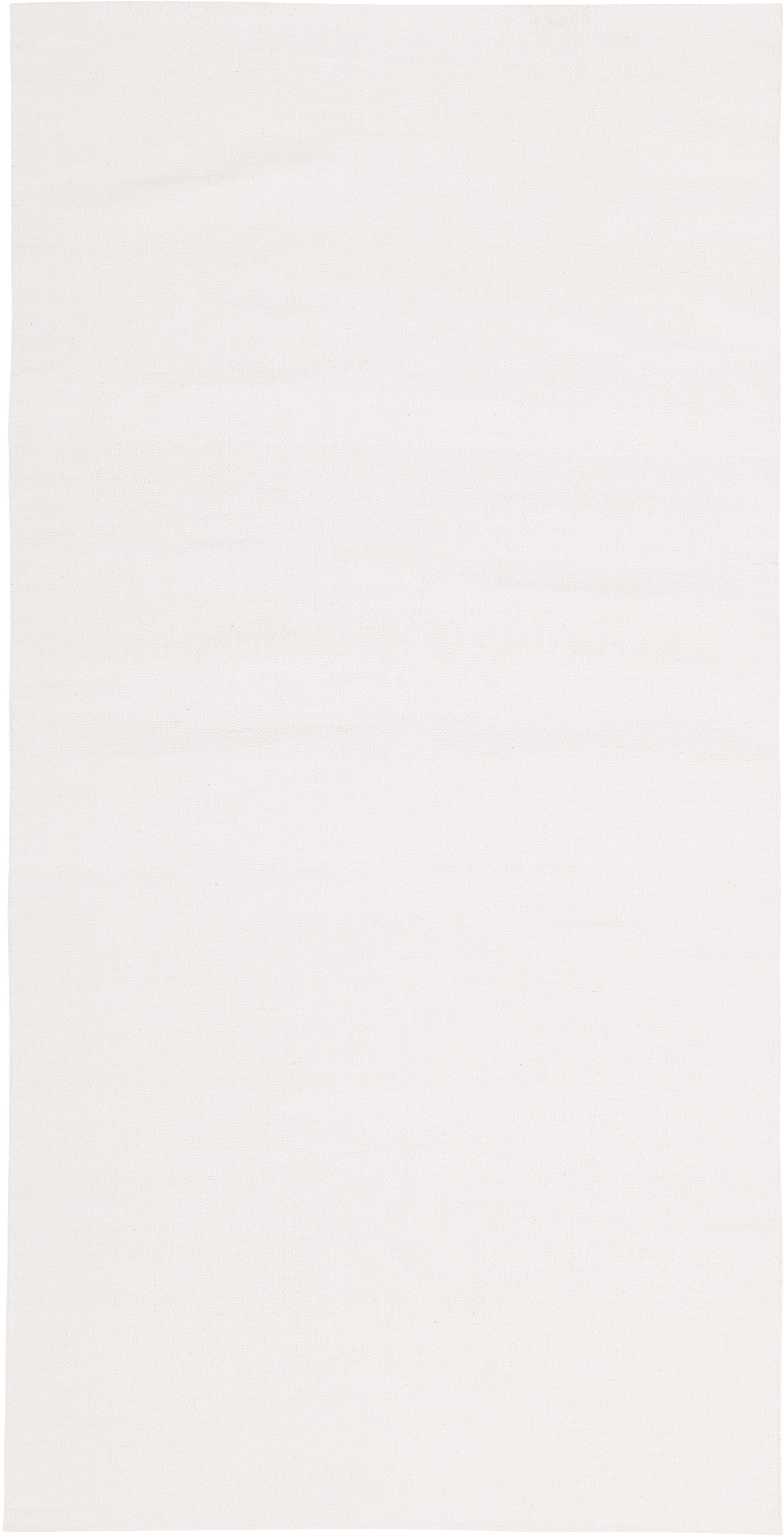 Dünner Baumwollteppich Agneta, handgewebt, 100% Baumwolle, Cremeweiß, B 70 x L 140 cm (Größe XS)