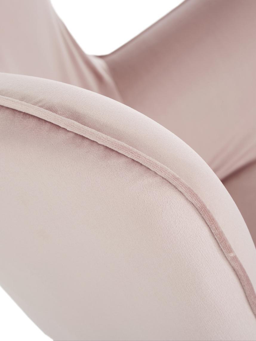 Samt-Ohrensessel Vicky in Rosa, Bezug: Polyestersamt 45.000 im M, Beine: Buche, massiv und lackier, Korpus: Buche Spanplatte, naturbe, Samt Rosa, B 59 x T 63 cm