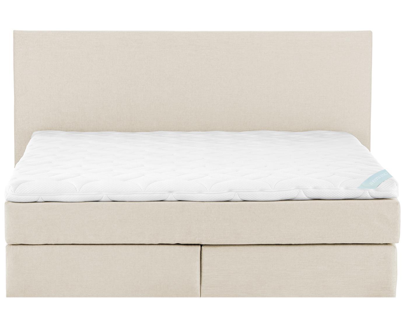 Letto boxspring premium Eliza, Materasso: a molle insacchettate a 7, Piedini: legno di faggio massiccio, Beige, 180 x 200