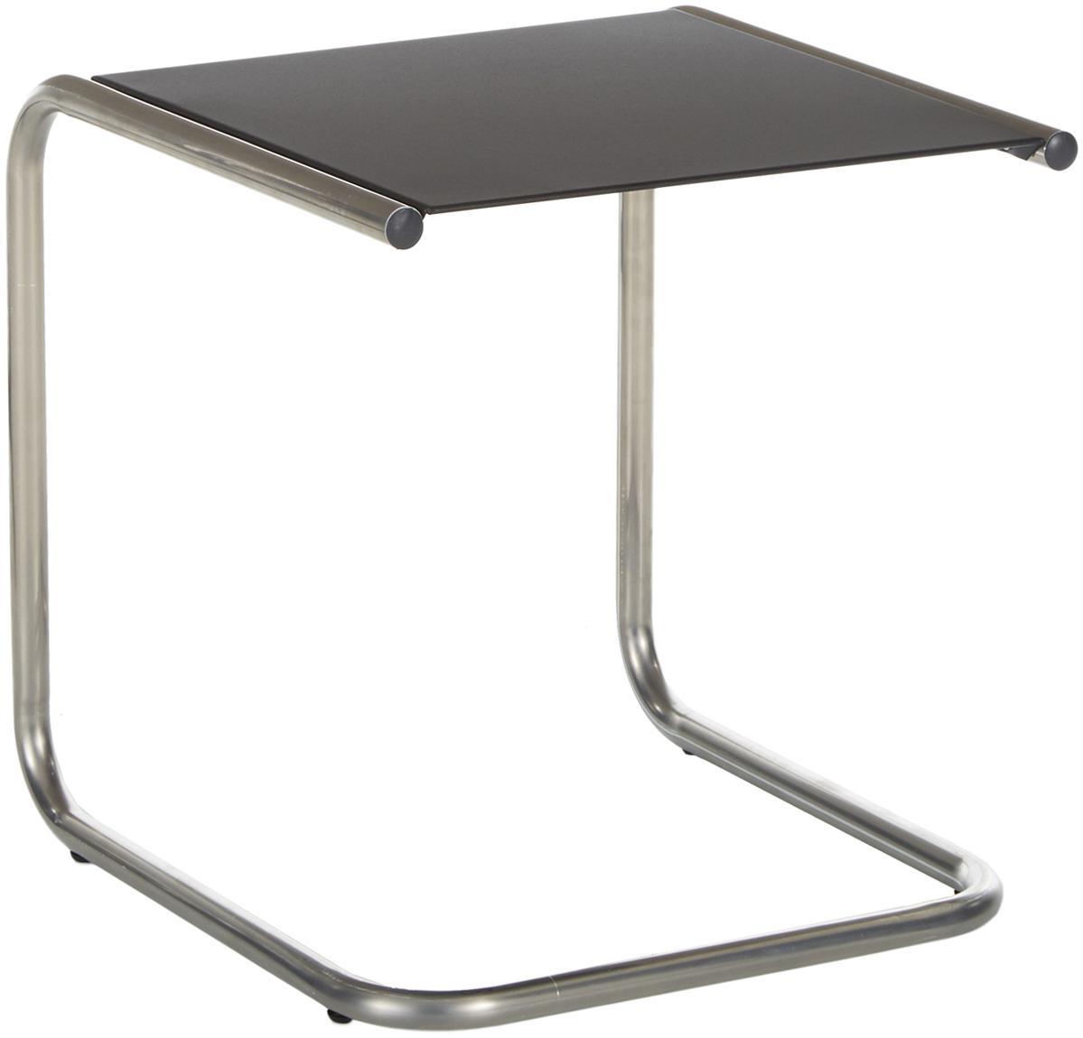 Mesa auxiliar de exterior de metal Club, Tablero: metal con pintura en polv, Estructura: aluminio pulido, Plateado, negro, An 40 x F 40 cm