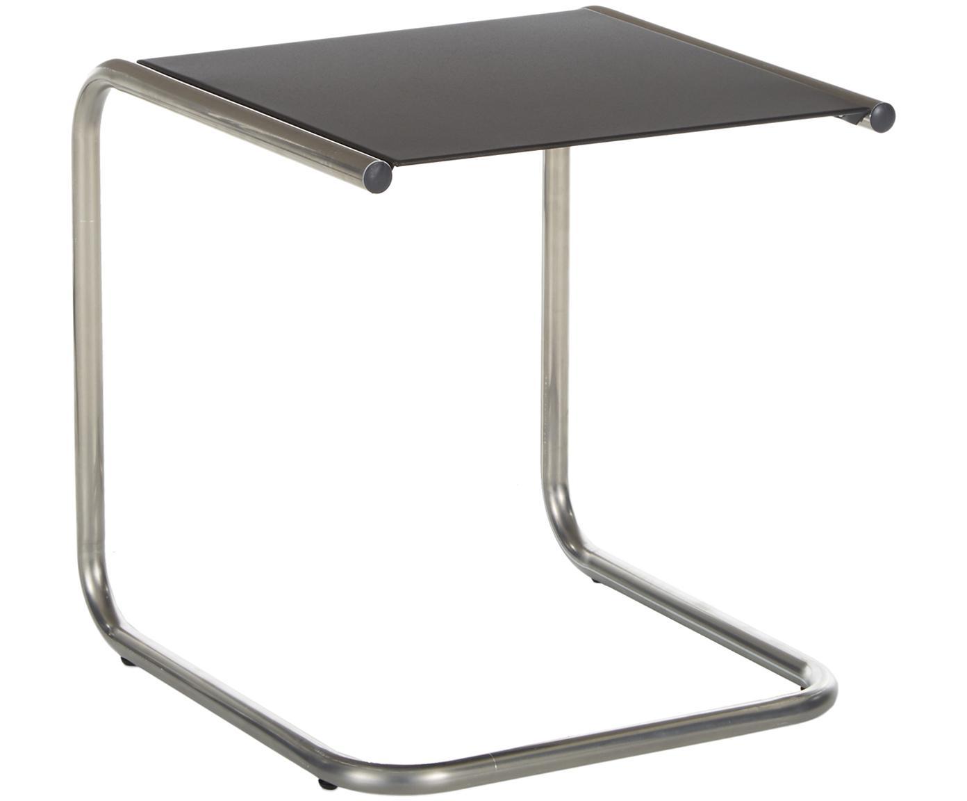 Tavolino da esterno in metallo Club, Piano d'appoggio: metallo, verniciato a pol, Struttura: alluminio lucido, Nero, alluminio, Larg. 40 x Prof. 40 cm