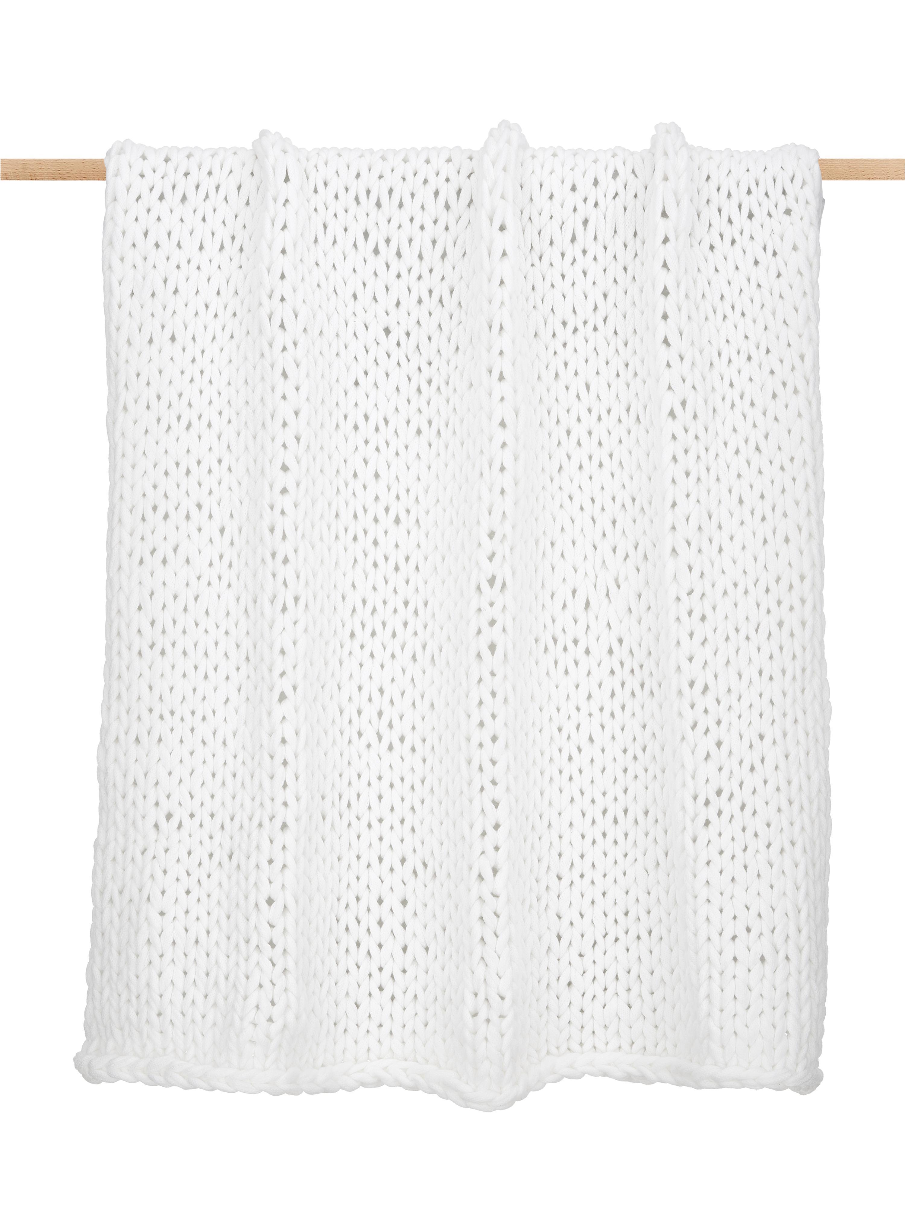 Plaid a maglia grossa bianco Adyna, 100% poliacrilico, Bianco crema, Larg. 130 x Lung. 170 cm