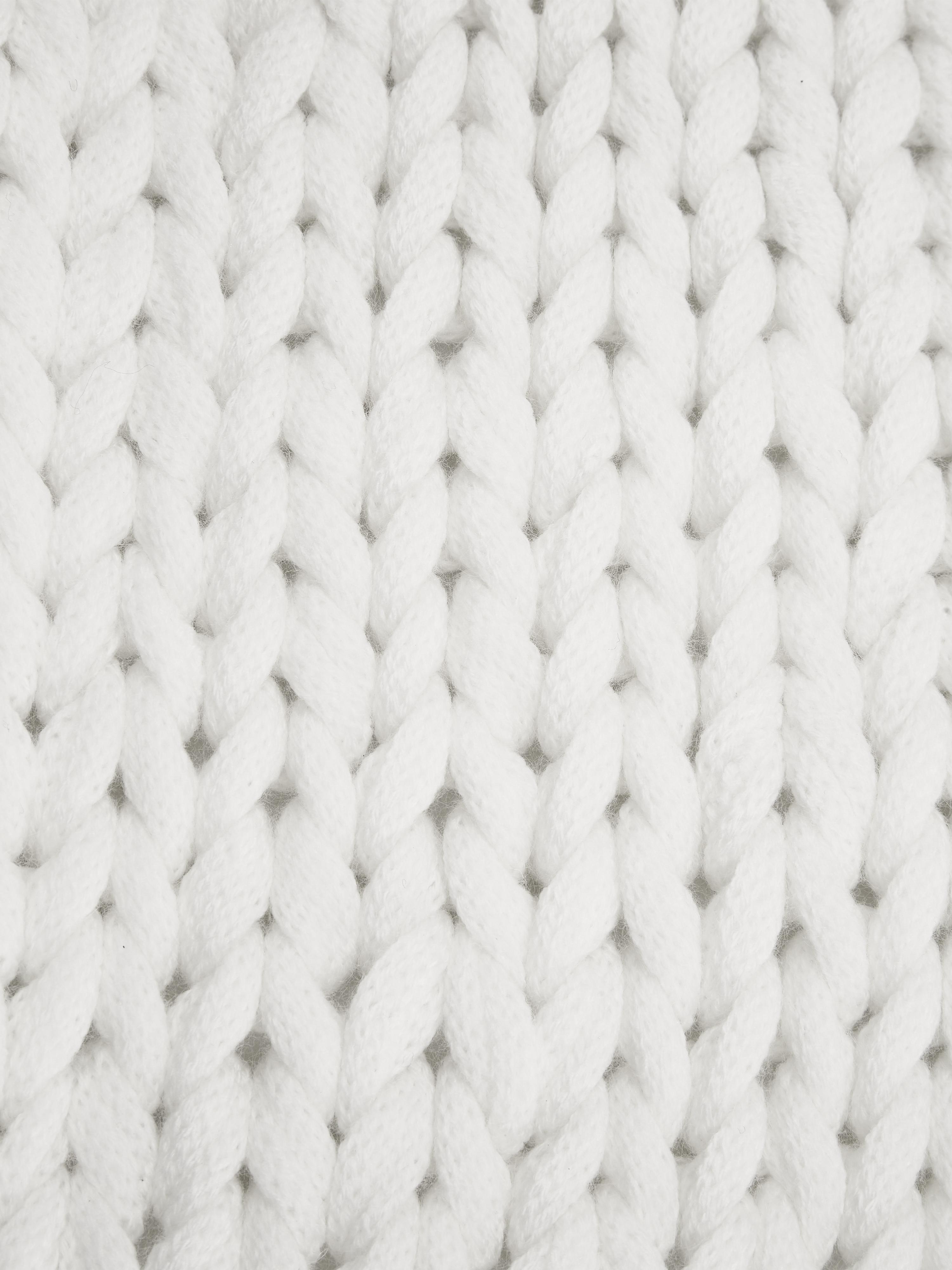Manta de punto grueso Adyna, 100%poliacrílico, Blanco crema, An 130 x L 170 cm