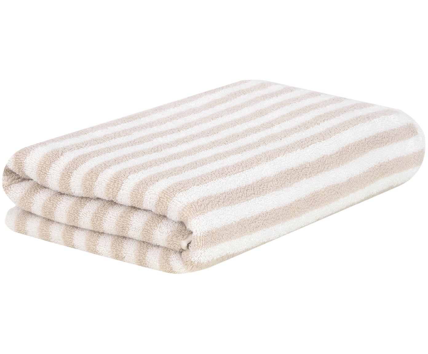 Gestreiftes Handtuch Viola, Sandfarben, Cremeweiß, Handtuch