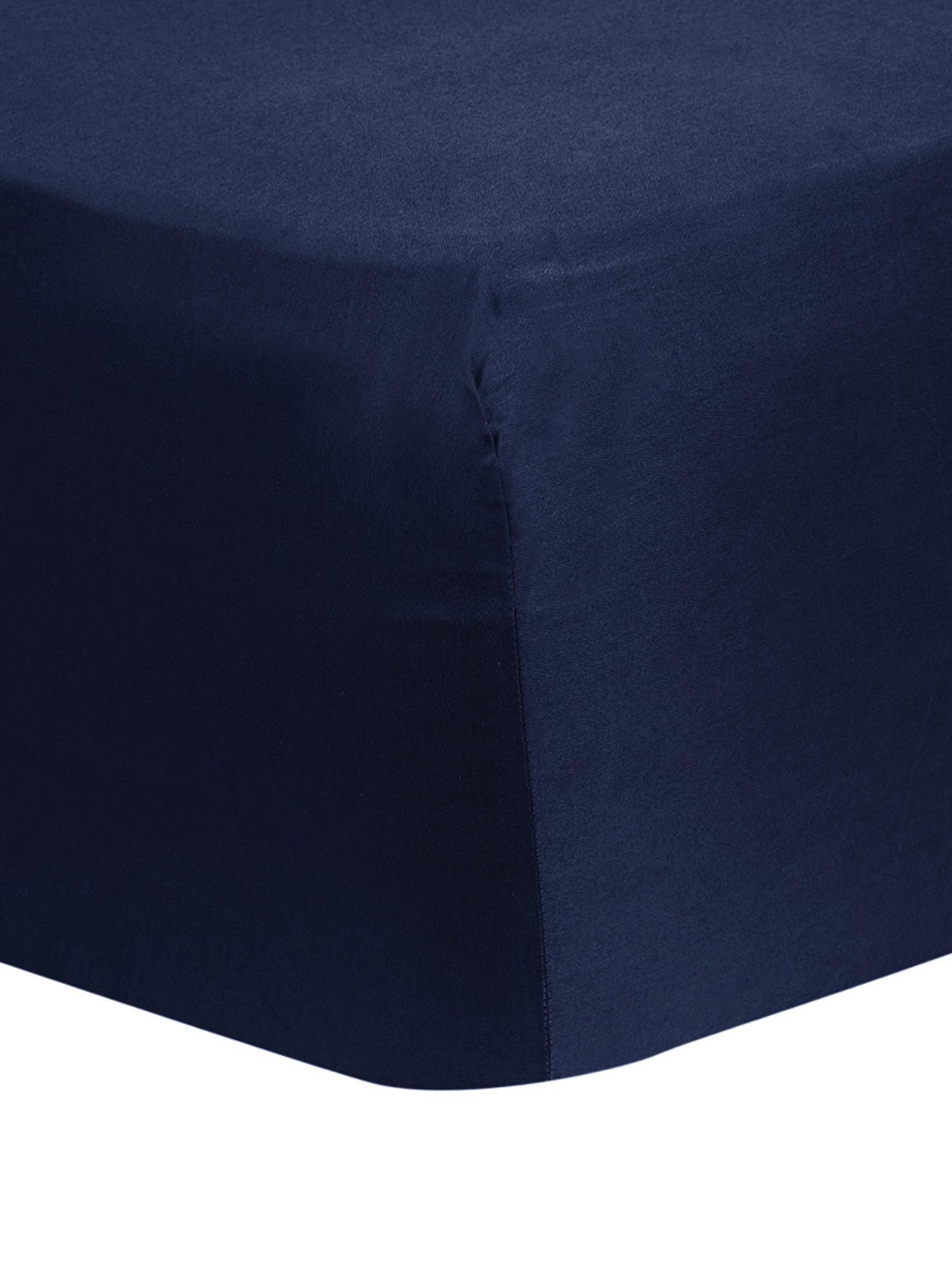 Spannbettlaken Comfort, Baumwollsatin, Webart: Satin, leicht glänzend, Dunkelblau, 140 x 200 cm