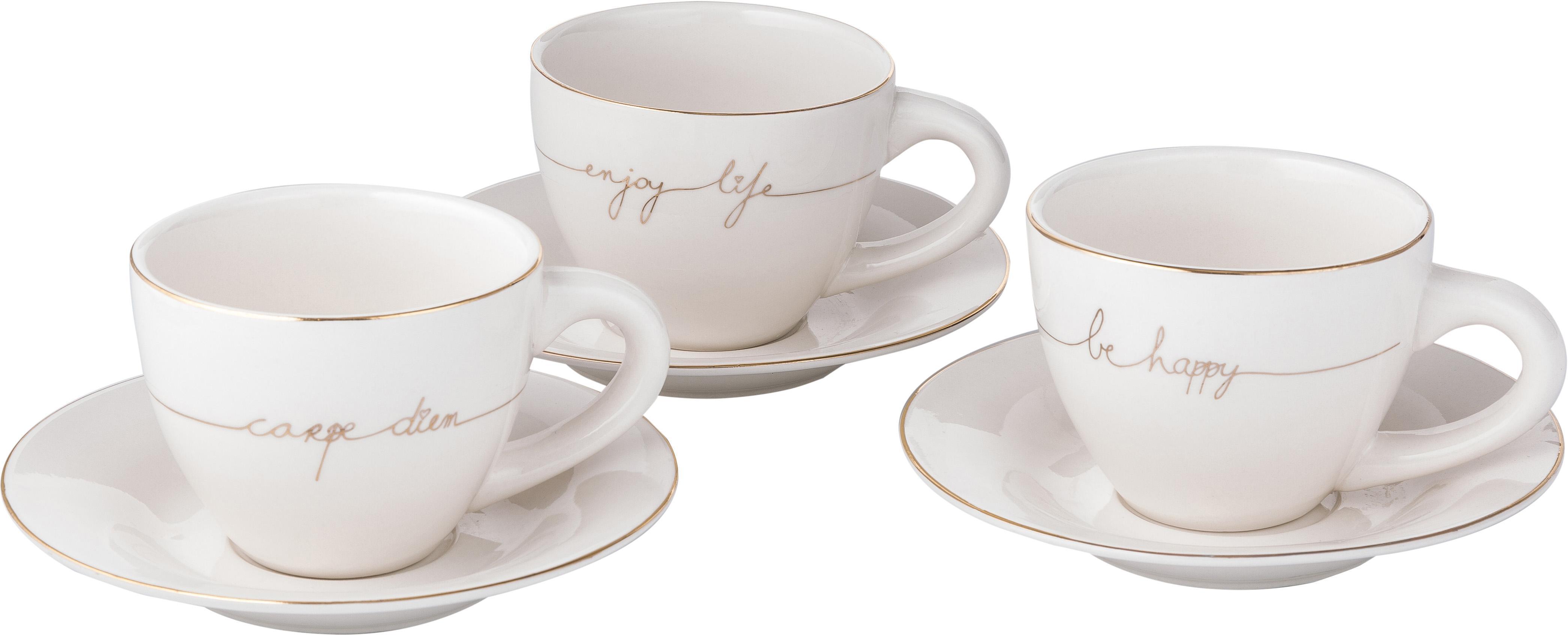 Teetassen Happy mit Untertasse mit goldener Aufschrift, 3er-Set, Porzellan, Weiss, Goldfarben, Ø 15 x H 8 cm