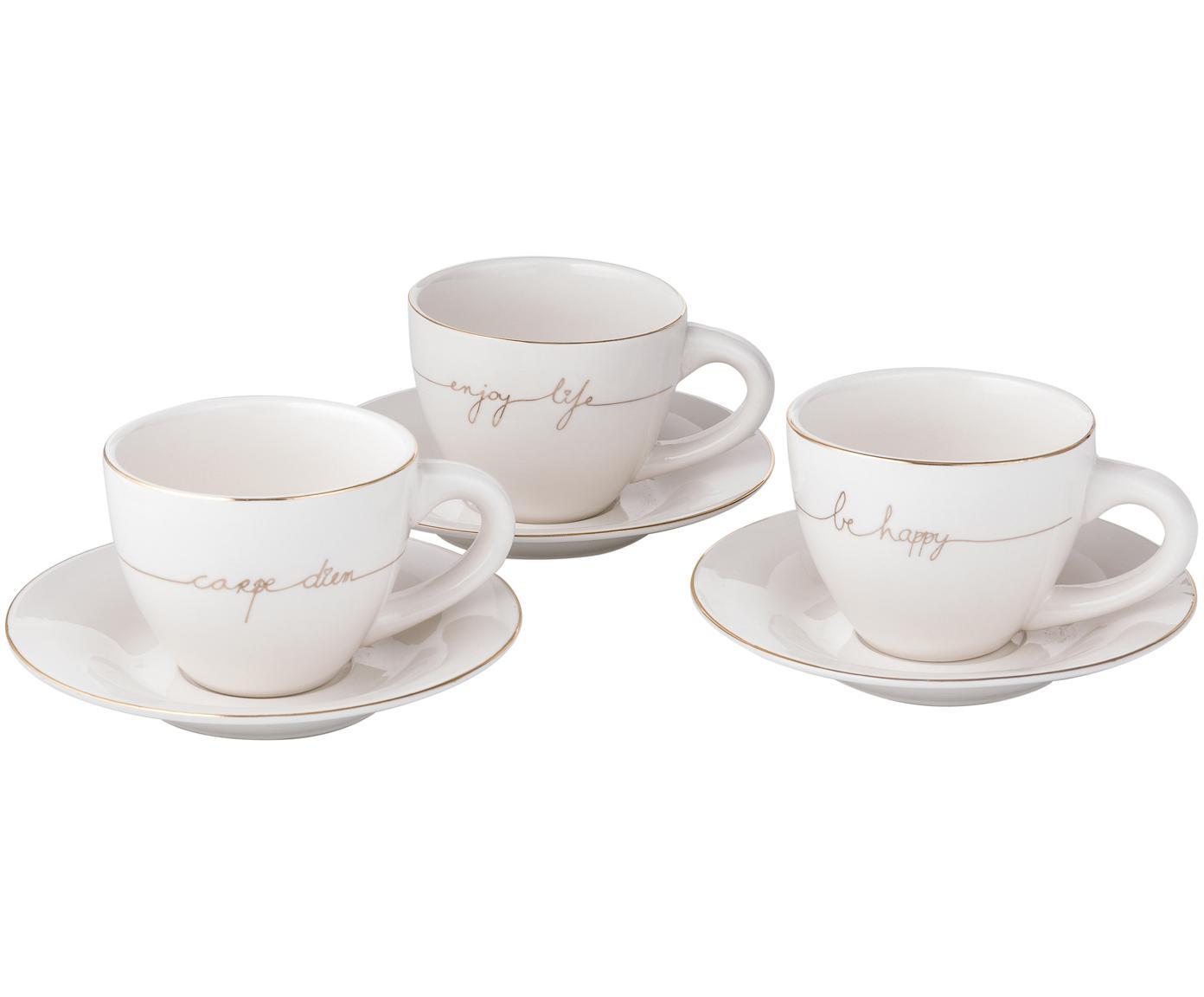 Teetassen Happy mit Untertasse, 3er-Set, Porzellan, Weiss, Goldfarben, Ø 15 x H 8 cm