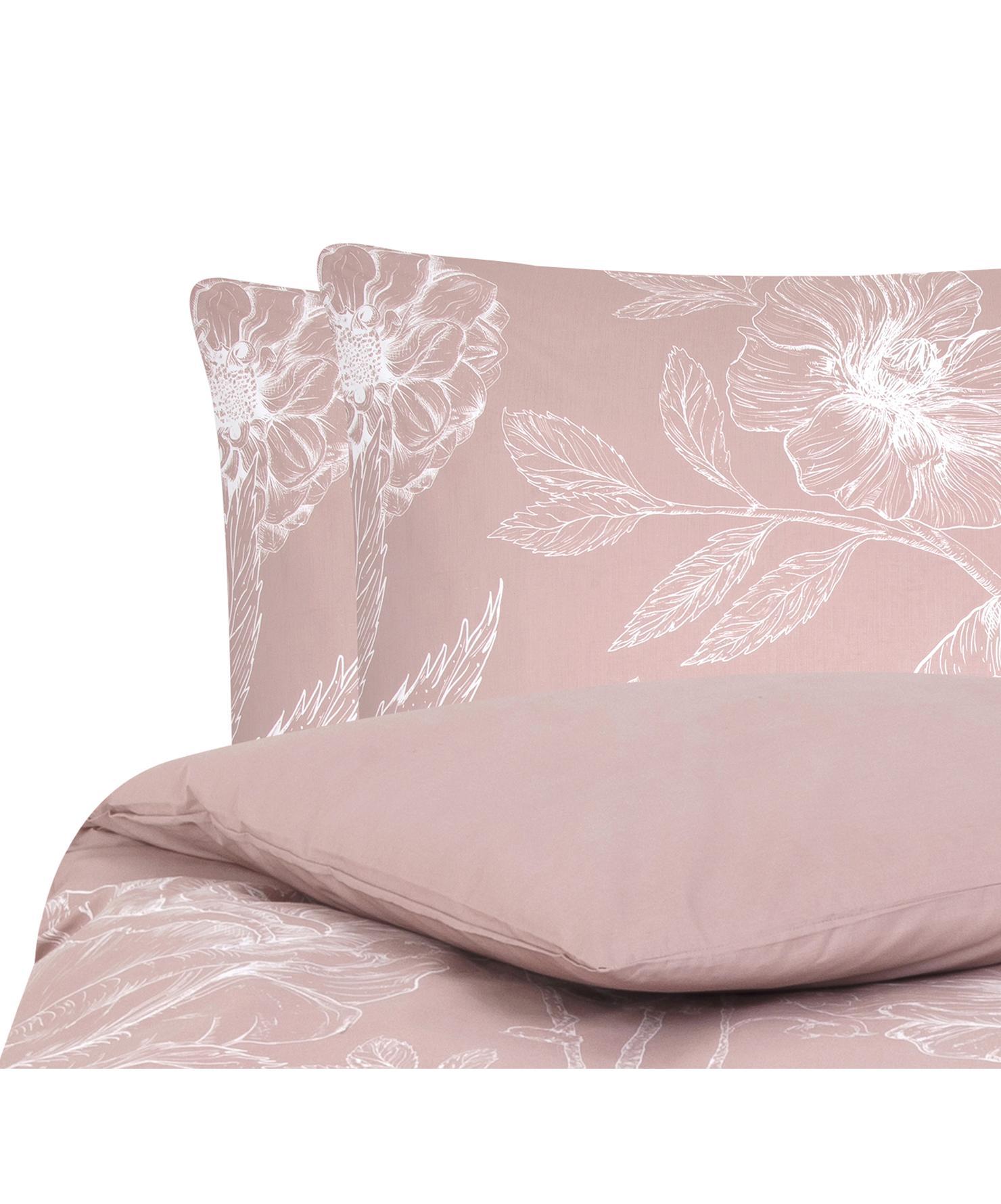 Baumwollperkal-Bettwäsche Keno mit Blumenprint, Webart: Perkal Fadendichte 180 TC, Altrosa, Weiß, 200 x 200 cm + 2 Kissen 80 x 80 cm