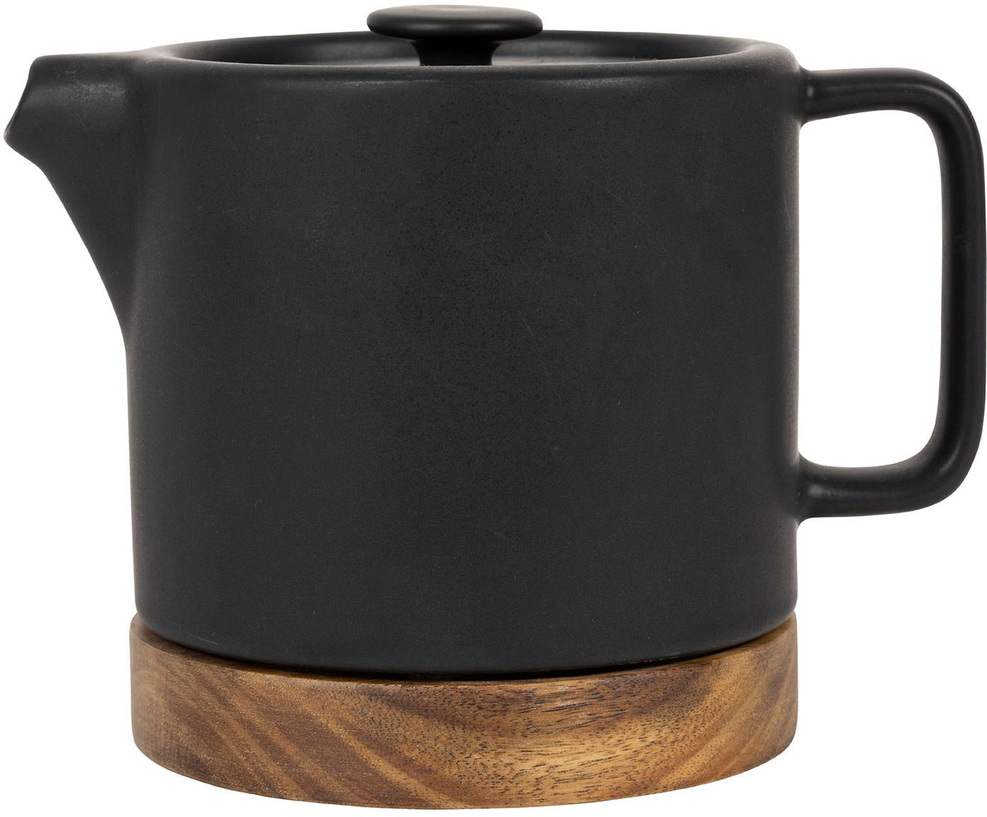 Tetera Nordika, Gres, madera de acacia, Negro, marrón, Ø 12 x Al 12 cm