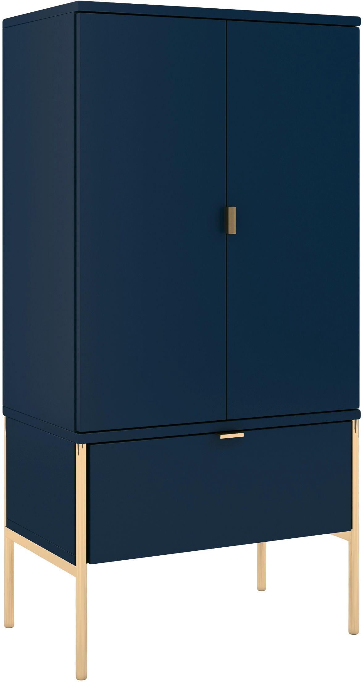 Credenza alta blu scura Polka, Blu scuro, Larg. 60 x Alt. 120 cm