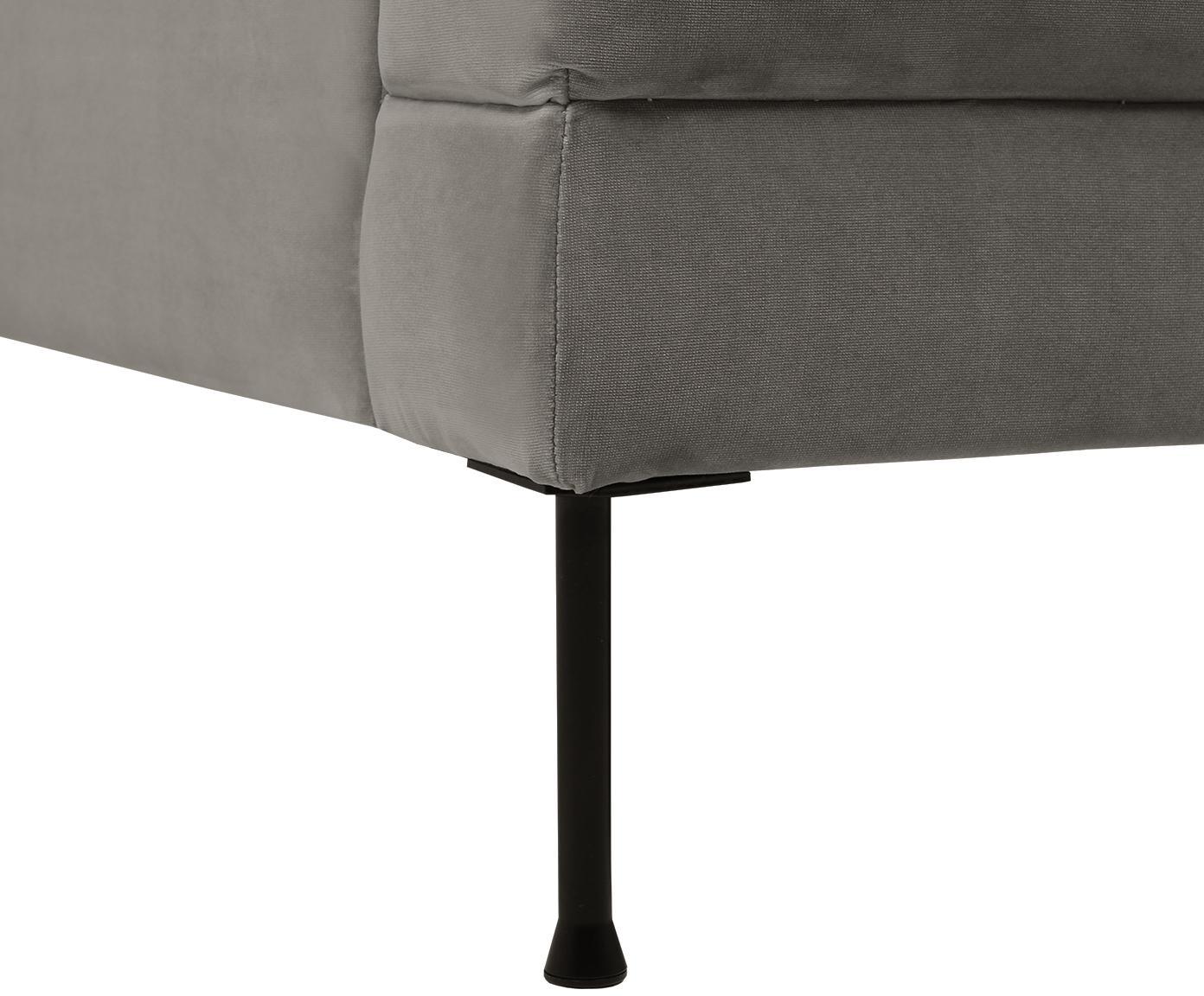 Samt-Sofa Fluente (3-Sitzer), Bezug: Samt (Hochwertiger Polyes, Gestell: Massives Kiefernholz, Füße: Metall, lackiert, Samt Braungrau, B 197 x T 83 cm