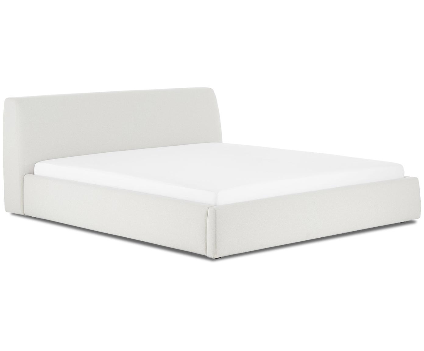 Gestoffeerd bed Cloud, Frame: massief grenenhout, Bekleding: polyester (structuurstof), Beige, 180 x 200 cm