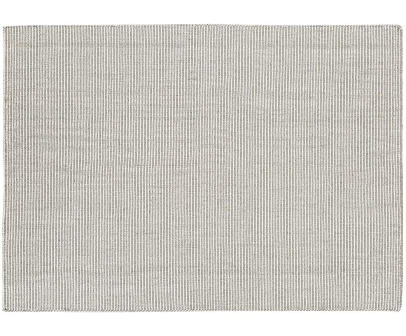 Fijn gestreepte wollen vloerkleed Ajo in grijs-crèmekleur, handgeweven, Lichtgrijs, crèmekleurig, 140 x 200 cm