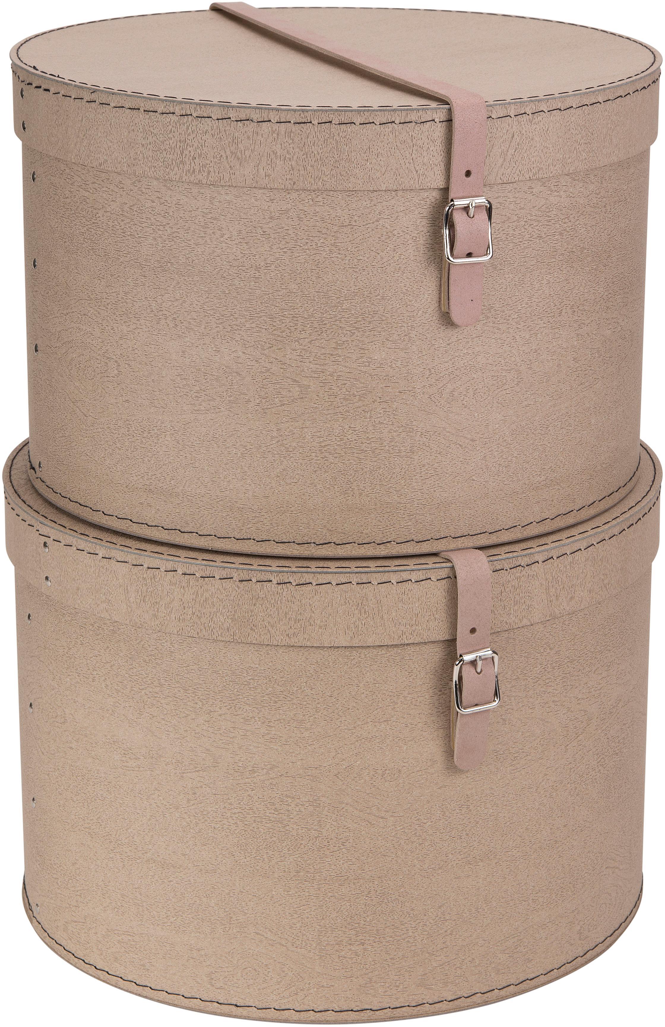 Set de cajas Rut, 2pzas., Caja: cartón sólido, con estamp, Asa: cuero, metal, Exterior: beige Interior: negro Asa: beige, Tamaños diferentes