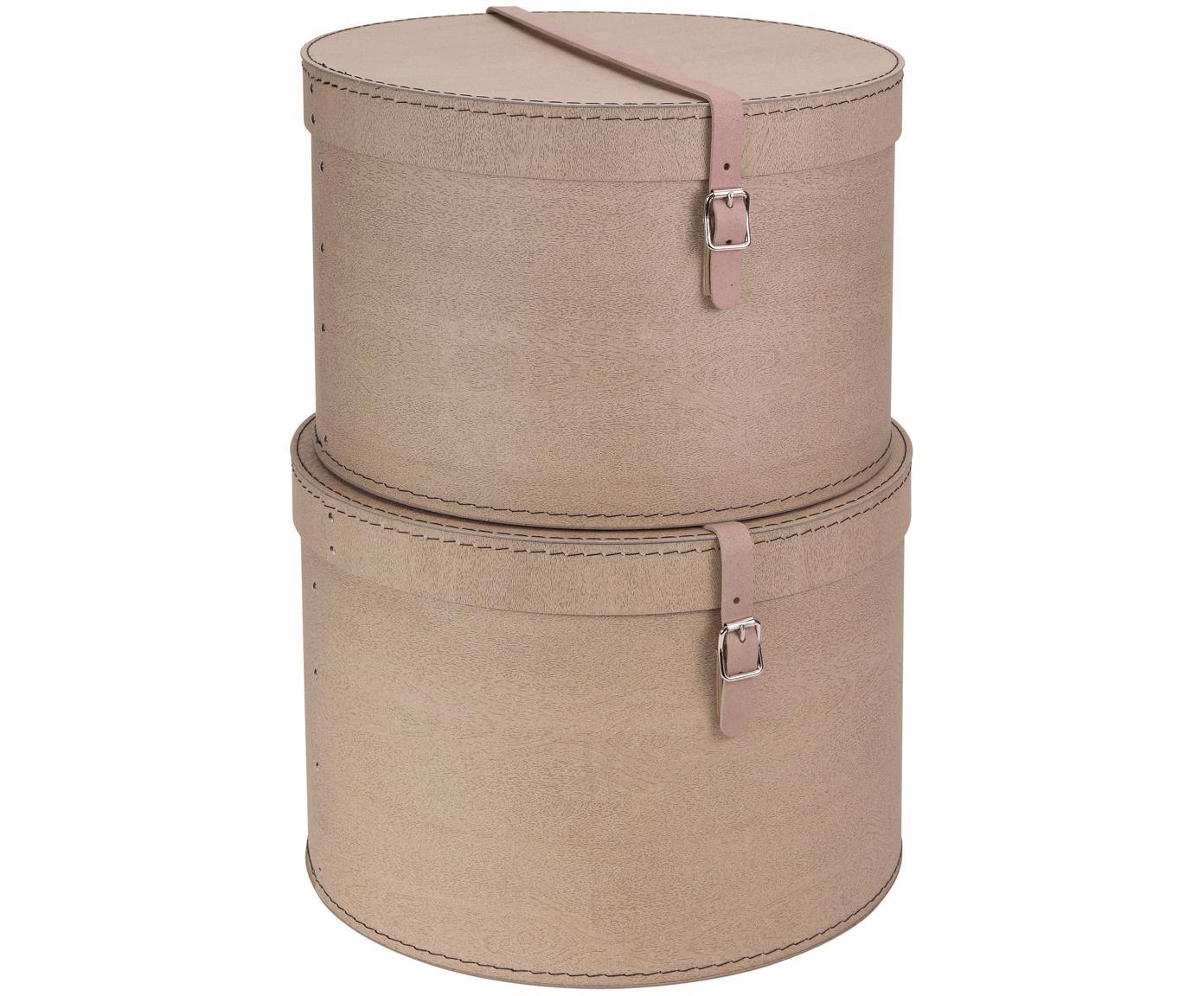 Opbergdozen set Rut, 2-delig, Doos: massief karton, met houtd, Doos buitenzijde: beige. Doos binnenzijde: zwart. Handvat: beige, Verschillende formaten