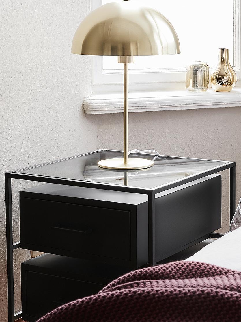 Table de chevet avec plateau en verre Lyle, Bois de manguier, laqué noir