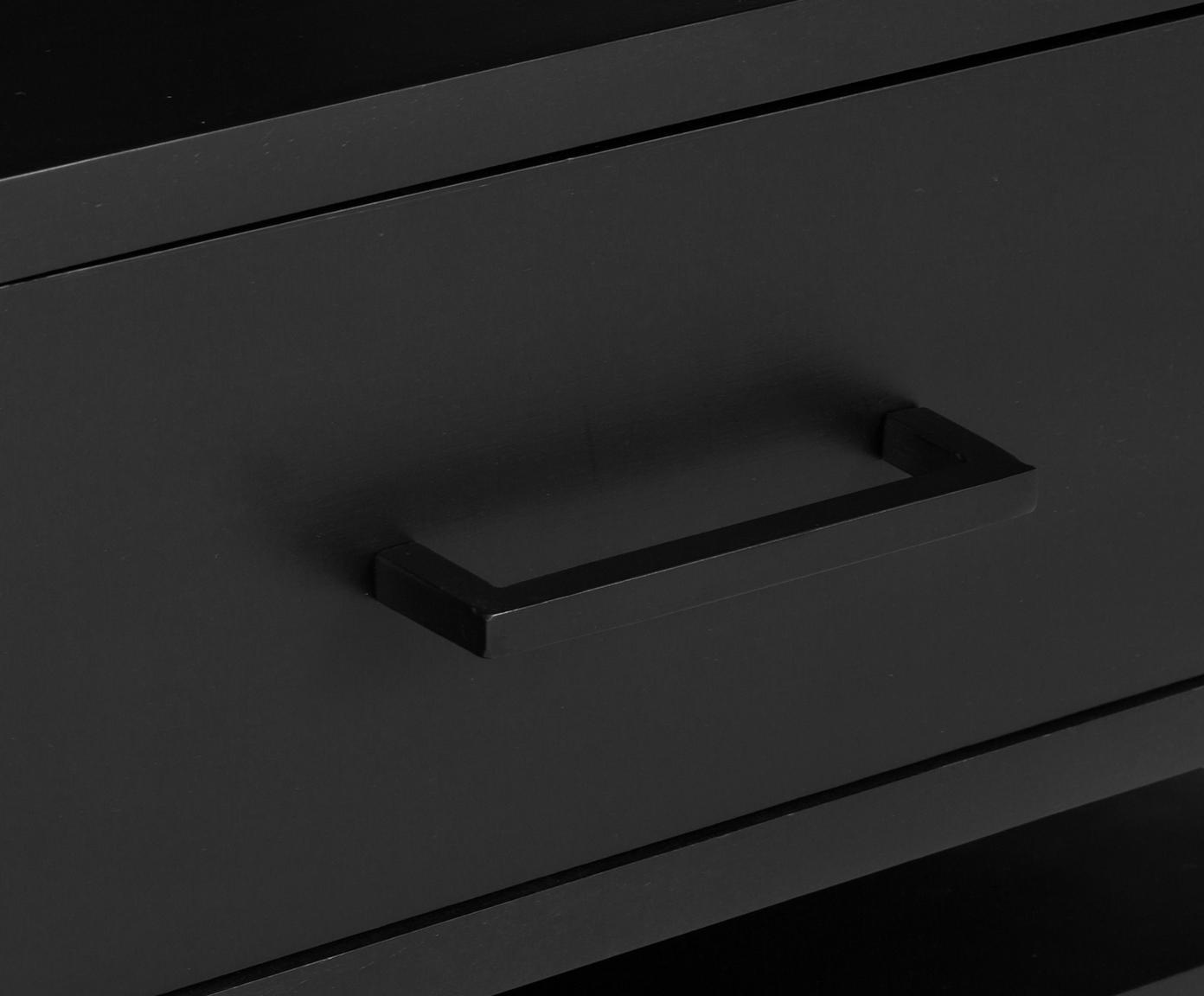 Szafka nocna ze szklanym blatem Lyle, Blat: szkło, Drewno mangowe, czarny, lakierowany, S 45 x W 58 cm