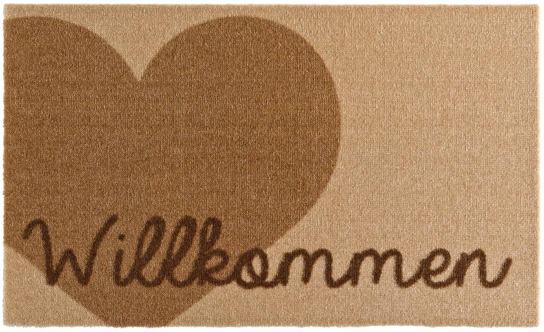 Polyamide deurmat Heart, Bovenzijde: polyamide, Onderzijde: PVC, Bruin, beige, 50 x 70 cm