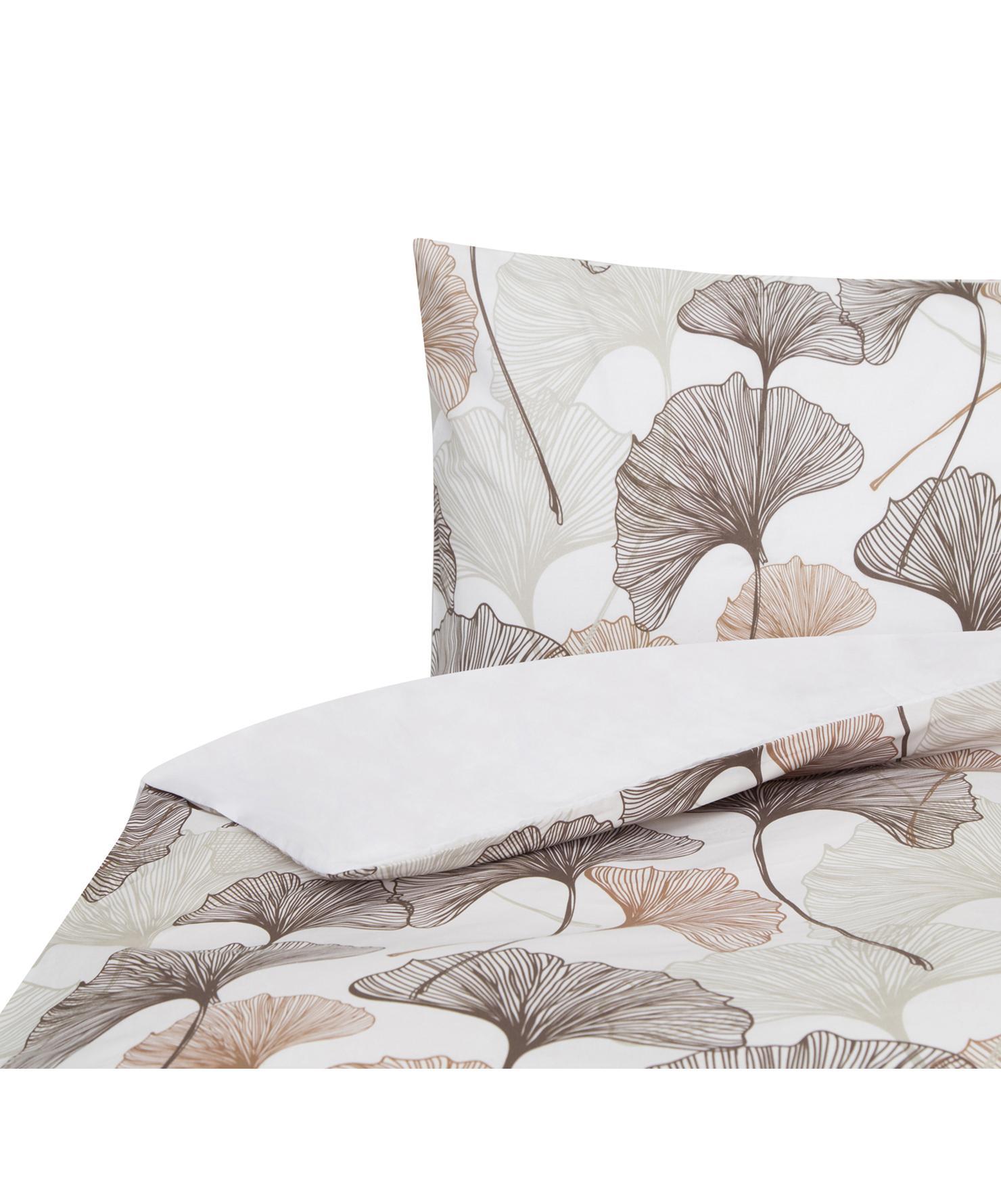 Funda nórdica doble cara Ginko, Algodón, Blanco, gris pardo, tonos beige, Cama 90 cm (160 x 220 cm)