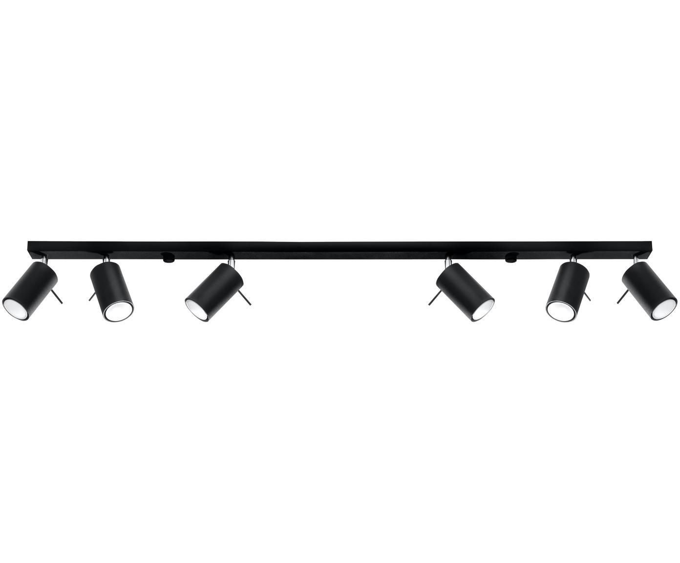 Faretti da soffitto Etna, Acciaio, Nero, Larg. 117 x Alt. 16 cm