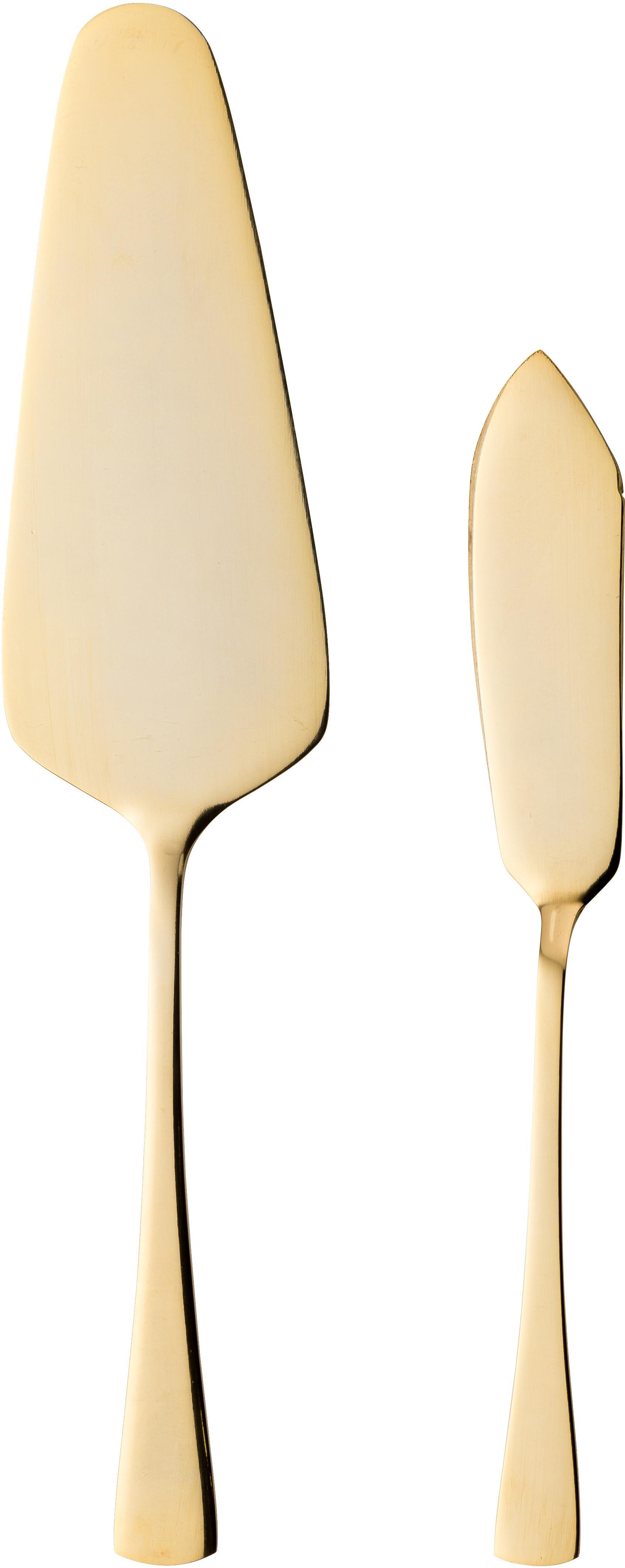 Goudkleurige taartschep set Matera van edelstaal, 2-delig, Edelstaal, Goudkleurig, Verschillende formaten