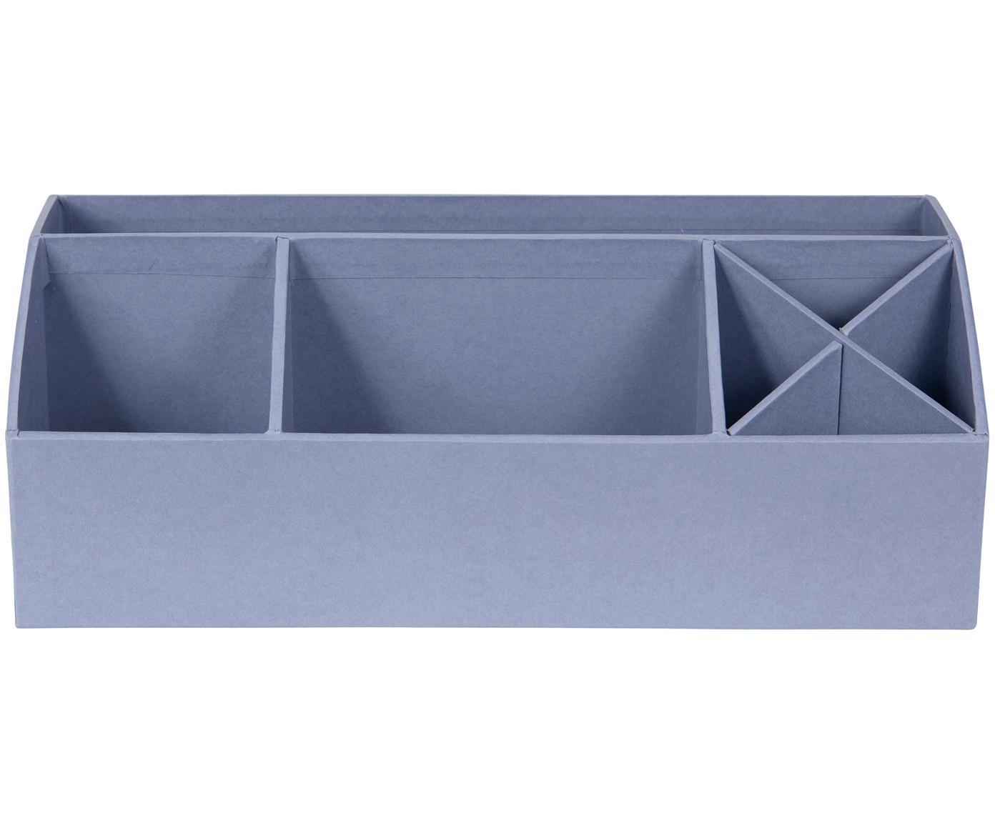 Organizador de escritorio Elisa, Cartón laminado macizo, Gris azulado, An 33 x Al 13 cm