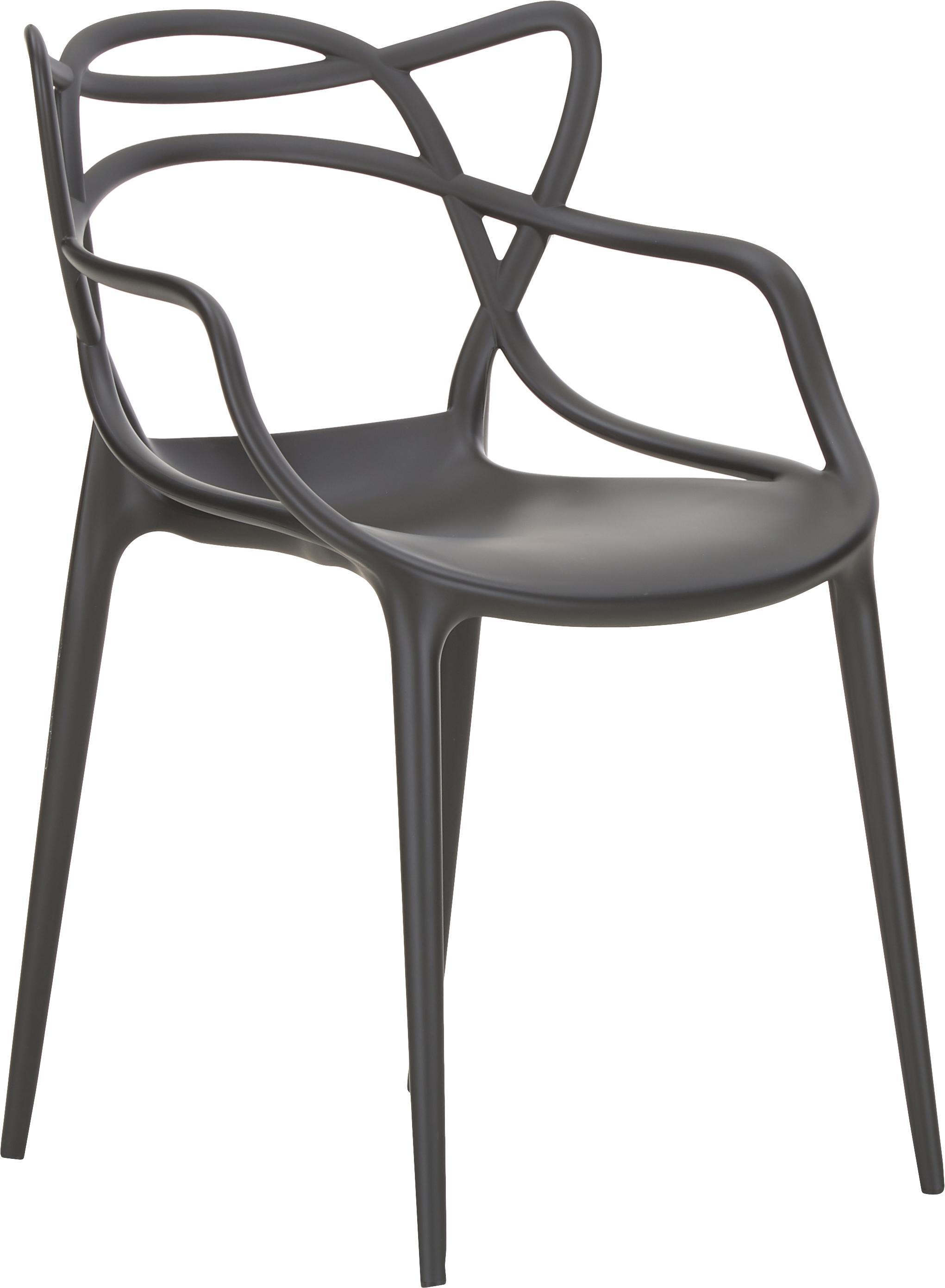 Sedia con braccioli Masters 2 pz, Polipropilene, Nero, Larg. 57 x Alt. 84 cm