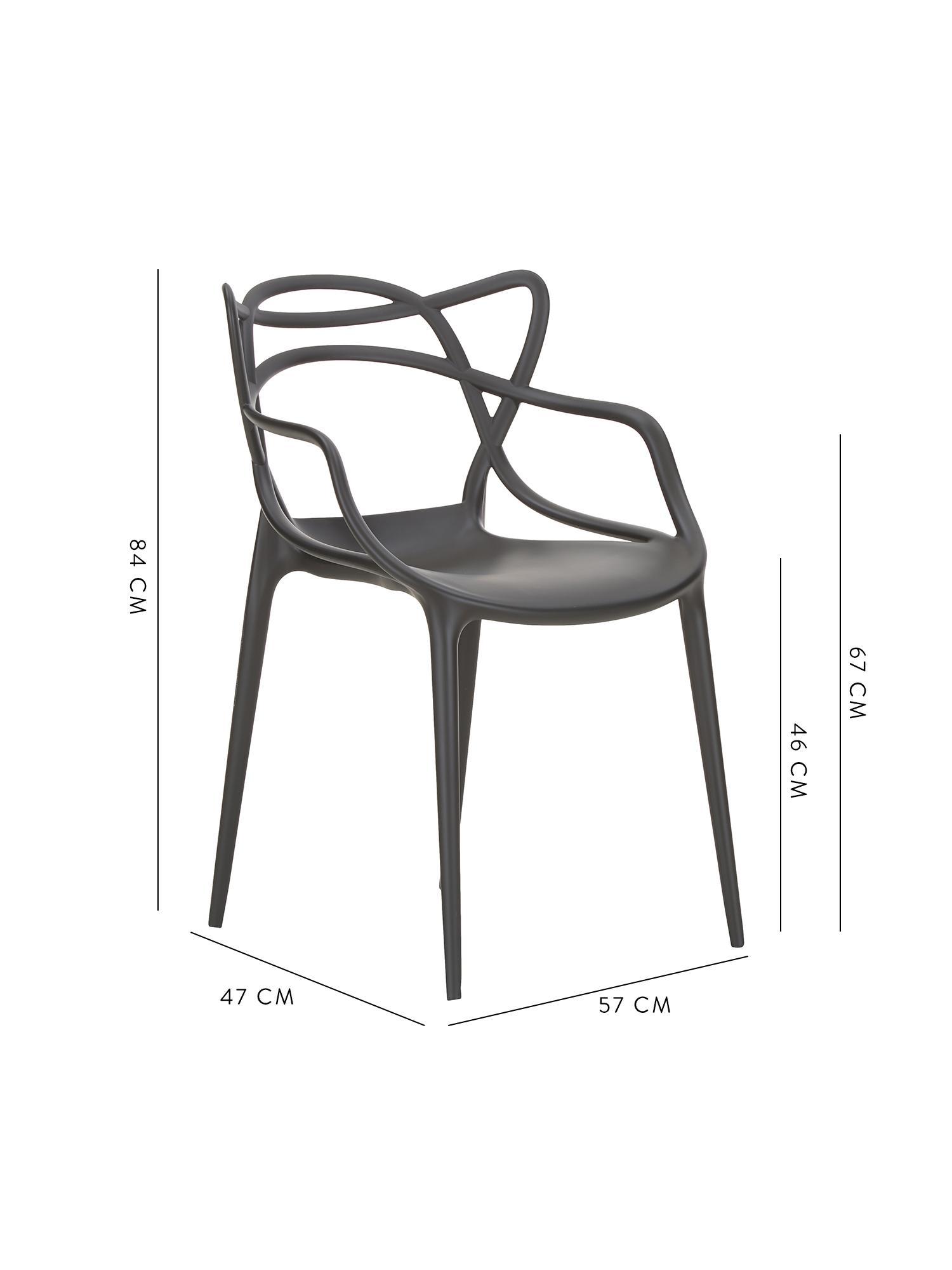Krzesło z podłokietnikami do ustawiania w stos Masters, 2 szt., Polipropylen, Czarny, S 57 x W 84 cm