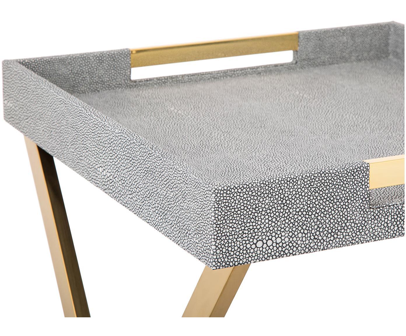 Dienbladtafel Megan, Frame: metaal, Dienblad: MDF (Medium-density fibre, Handvatten: metaal, Donkergrijs, 46 x 55 cm