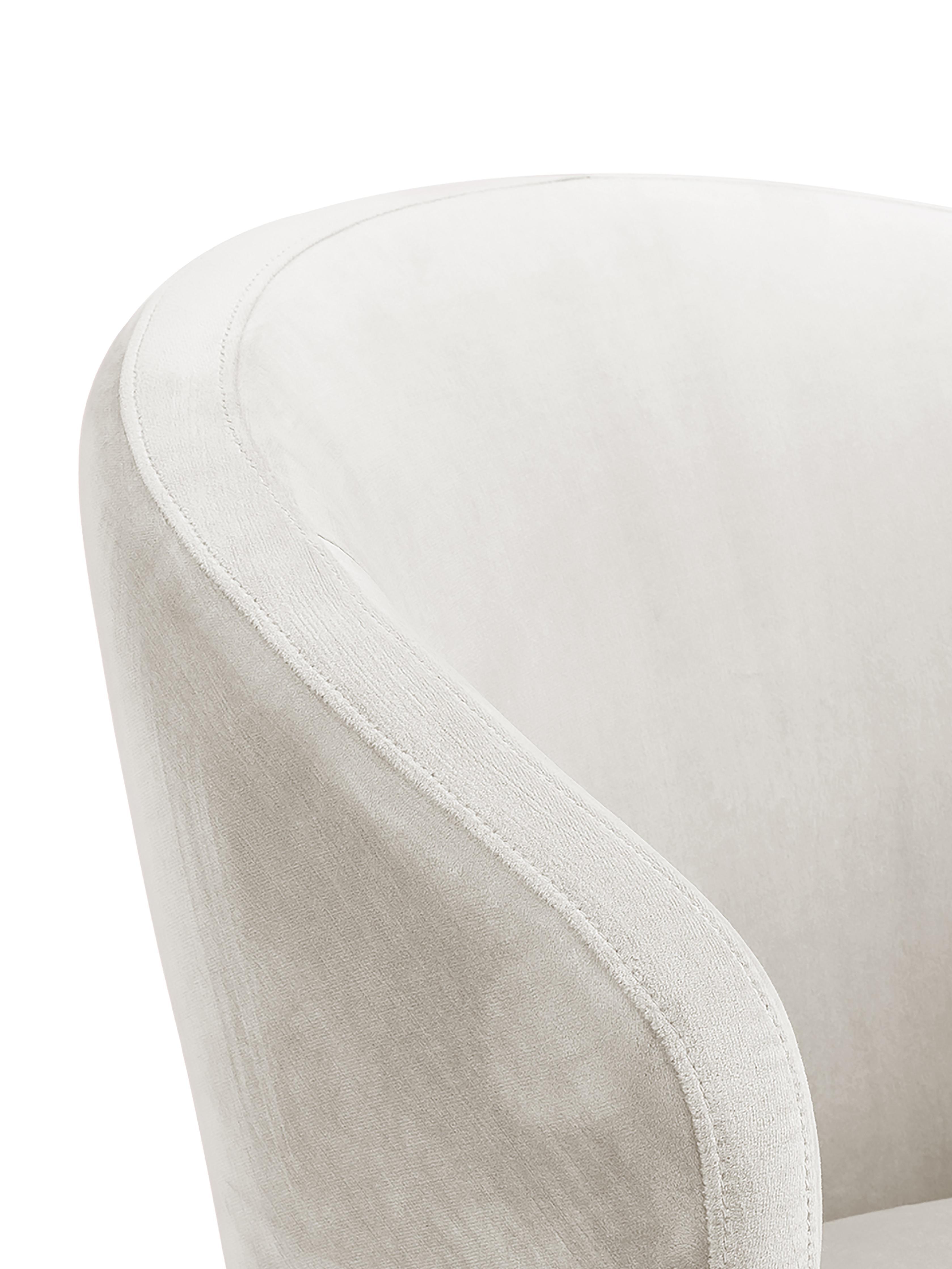 Samt-Armlehnstuhl Celia in modernem Design, Bezug: Samt (Polyester) 30.000 S, Beine: Metall, pulverbeschichtet, Samt Beige, B 57 x T 62 cm