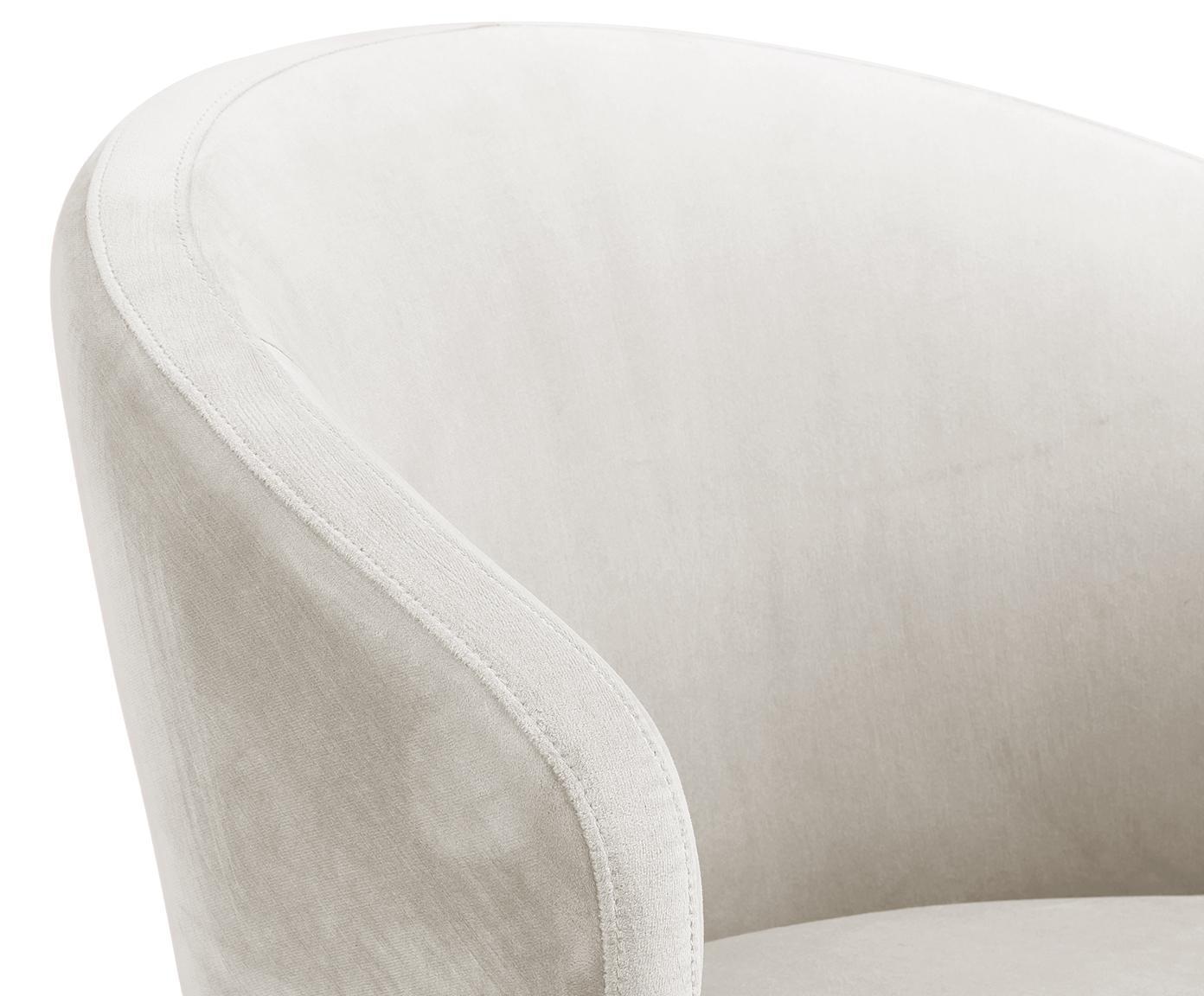 Krzesło z podłokietnikami z aksamitu Celia, Tapicerka: aksamit (poliester) 3000, Nogi: metal malowany proszkowo, Aksamitny beżowy, S 57 x G 62 cm