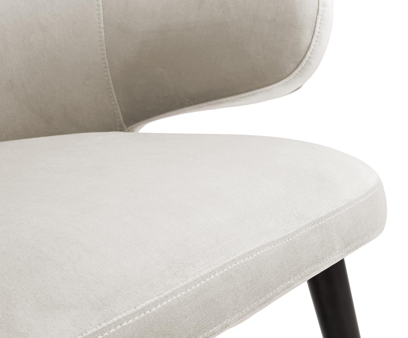 Fluwelen armstoel Celia in modern design, Bekleding: fluweel (polyester), Poten: gepoedercoat metaal, Beige, B 57 x D 62 cm