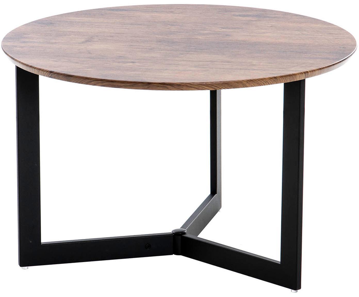 Mesa auxiliar Pati, estilo vintage, Patas: acero inoxidable, Tablero: madera, Marrón, negro, Ø 60 x Al 38 cm