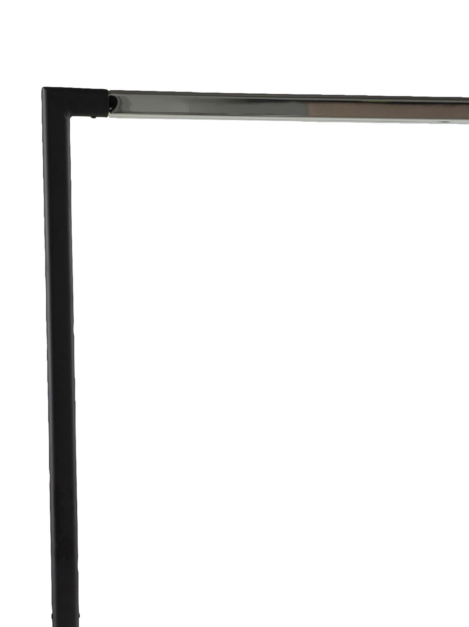 Appendiabiti con mensola Brent, Metallo verniciato a polvere, Nero, Larg. 117 x Prof. 59 cm