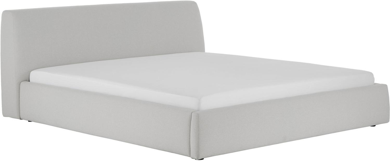 Łóżko tapicerowane Cloud, Korpus: lite drewno sosnowe, Tapicerka: poliester (materiał tekst, Jasny szary, 180 x 200 cm