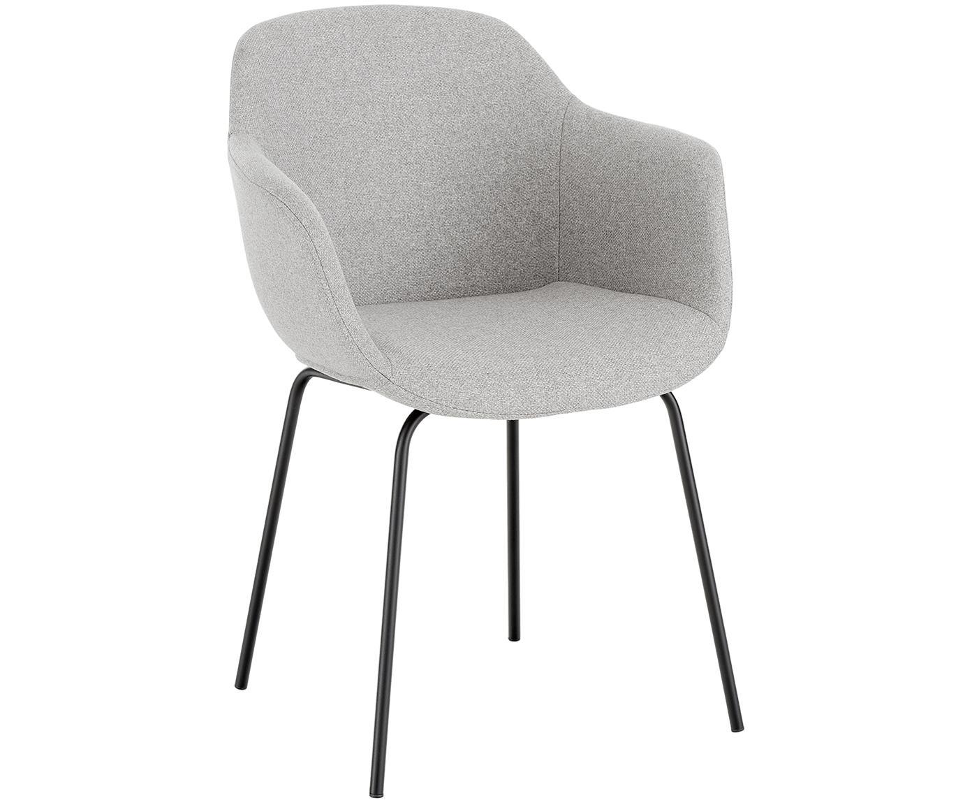 Gestoffeerde stoel Fiji met metalen poten, Bekleding: polyester, Poten: gepoedercoat metaal, Lichtgrijs, B 58 x D 56 cm
