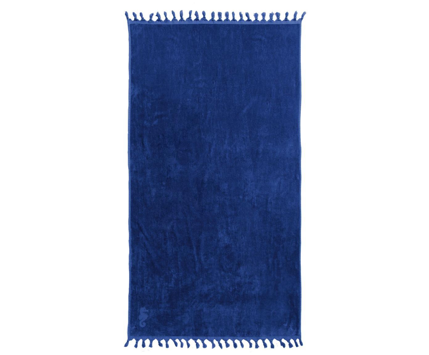 Hamamdoek Lushie, Katoen, middelzware stofkwaliteit, 355g/m², Donkerblauw, 100 x 180 cm