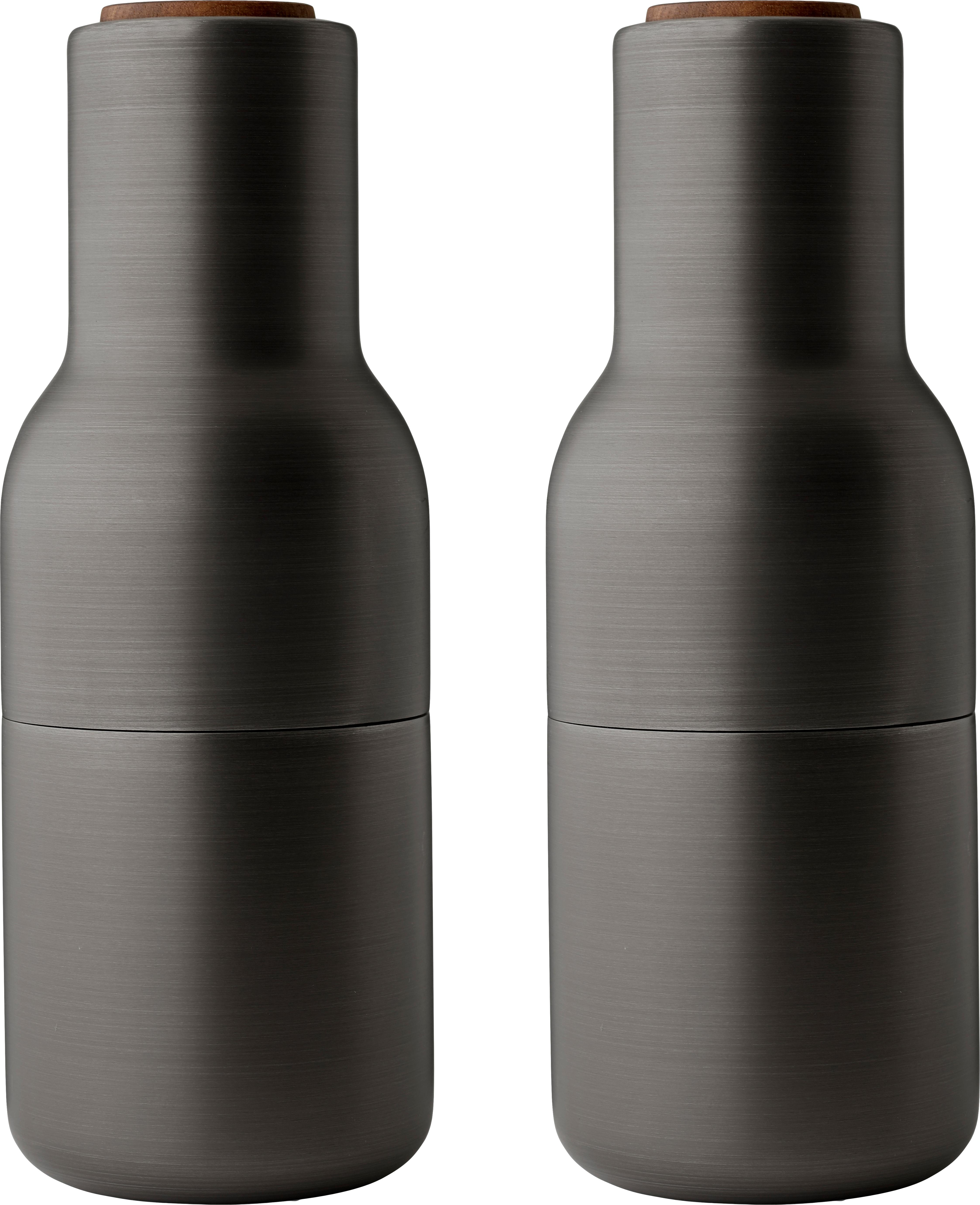 Molinillos de diseño Bottle Grinder, 2pzas., Estructura: acero, latón y cepillado, Grinder: cerámica, Gris antracita, Ø 8 x Al 21 cm
